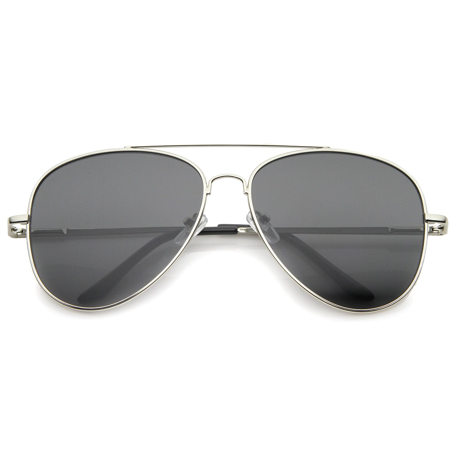 Large Classic Full Metal Teardrop Flat Lens Aviator Sunglasses 60mm - sunglass.la - 8