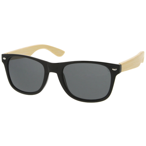 Genuine Bamboo Wood Spring Loaded Temples Horn Rimmed Sunglasses 54mm - sunglass.la