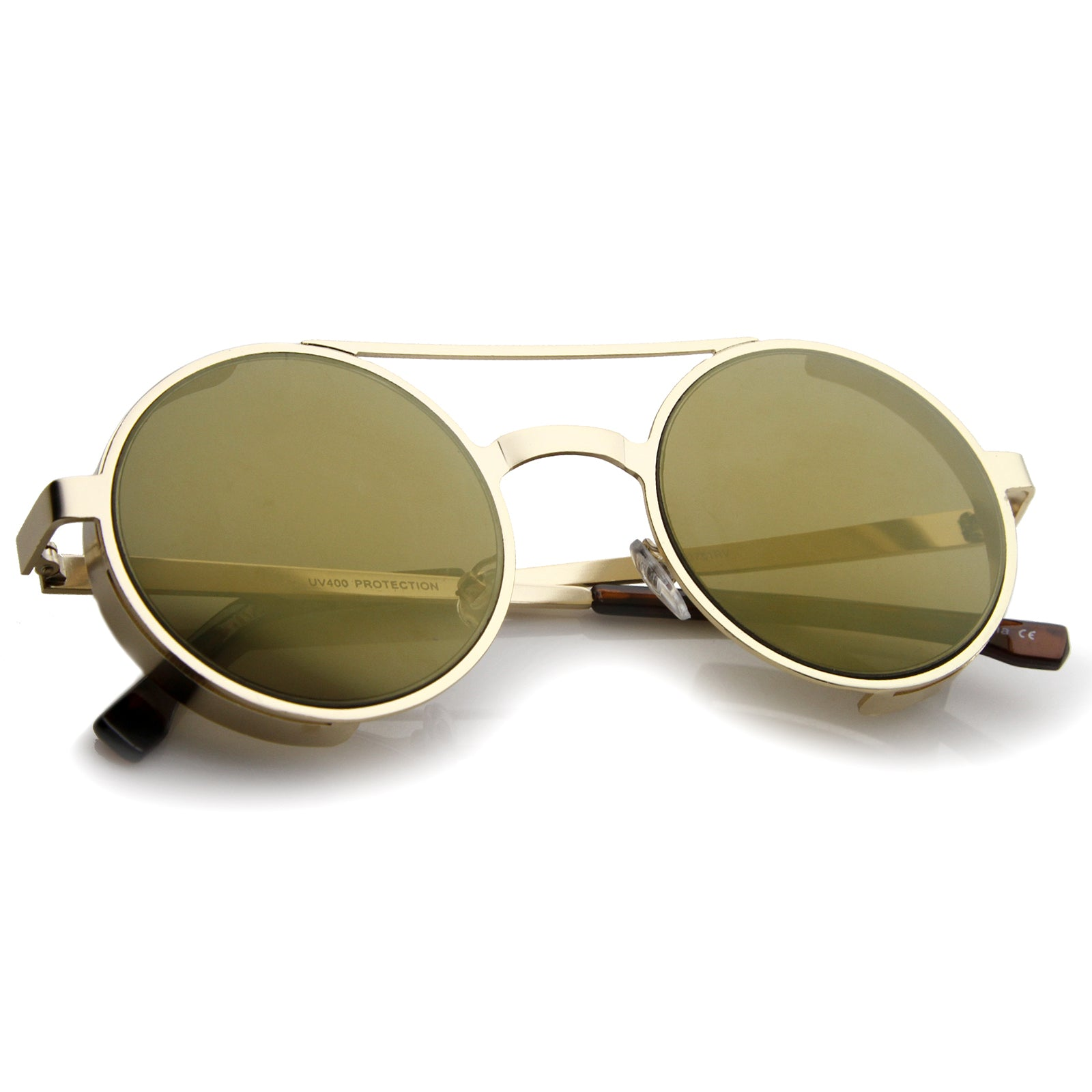 Retro Steampunk Side Cover Crossbar Metal Frame Round Sunglasses 49mm - sunglass.la - 4