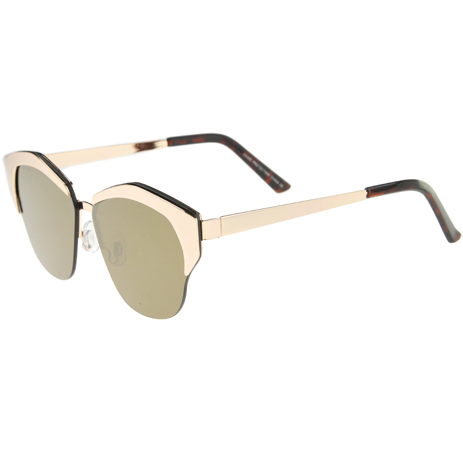 Women's Semi-Rimless Color Mirror Flat Lens Cat Eye Sunglasses 58mm - sunglass.la - 3