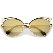 Women's Oversize Open Metal Frame Colored Mirror Lens Cat Eye Sunglasses 61mm - sunglass.la - 1