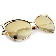 Women's Oversize Open Metal Frame Colored Mirror Lens Cat Eye Sunglasses 61mm - sunglass.la - 4