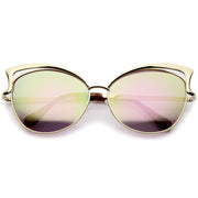 Women's Oversize Open Metal Frame Colored Mirror Lens Cat Eye Sunglasses 61mm - sunglass.la - 5