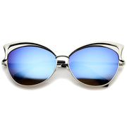 Women's Oversize Open Metal Frame Colored Mirror Lens Cat Eye Sunglasses 61mm - sunglass.la - 6