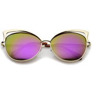 Women's Oversize Open Metal Frame Colored Mirror Lens Cat Eye Sunglasses 61mm - sunglass.la - 8