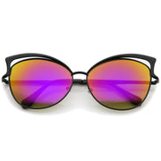 Women's Oversize Open Metal Frame Colored Mirror Lens Cat Eye Sunglasses 61mm - sunglass.la - 9