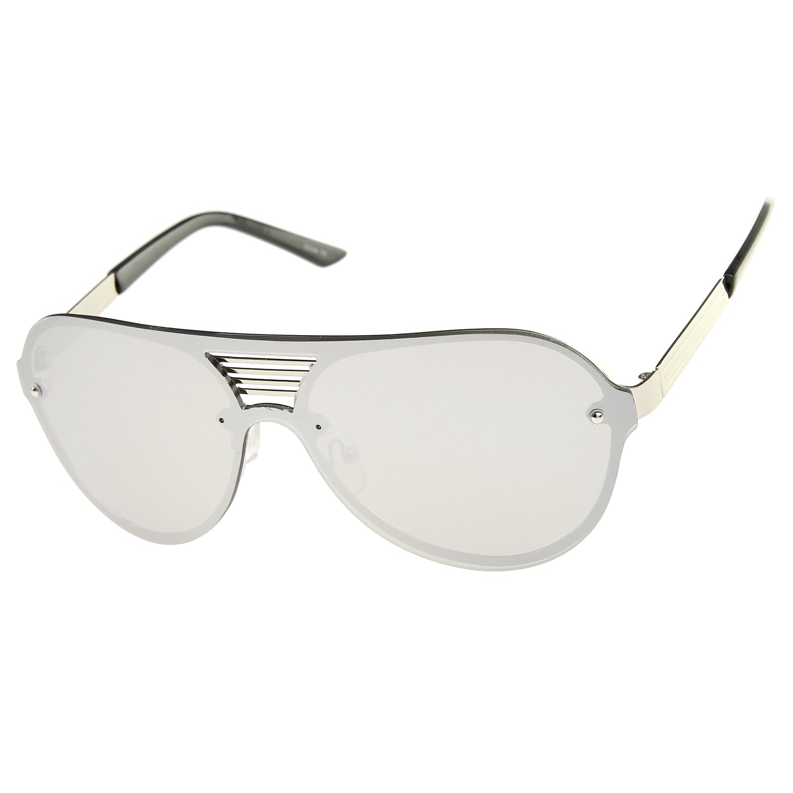 Rimless Flat Top Metal Temple Iridescent Mirror Lens Aviator Sunglasses 59mm - sunglass.la - 2