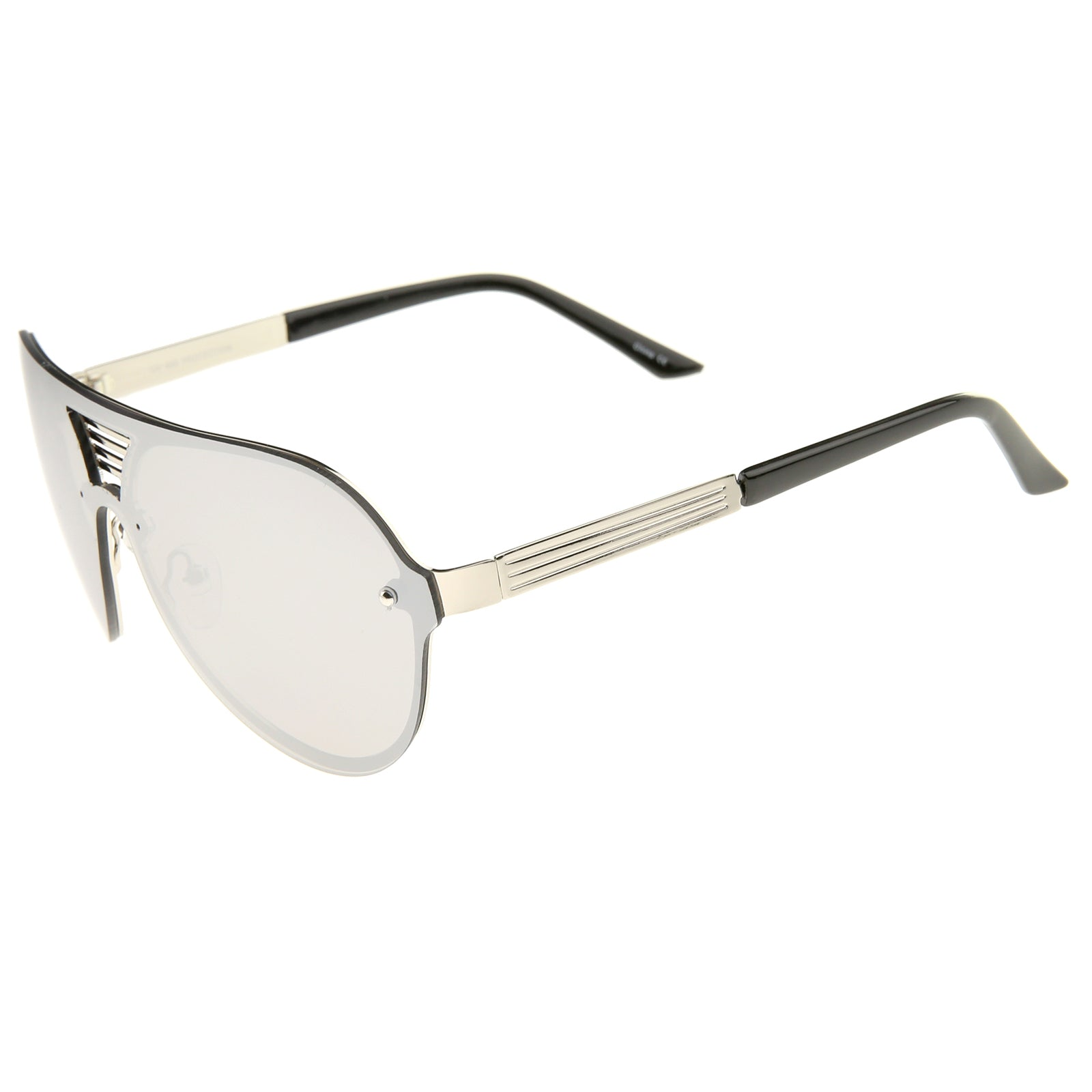 Rimless Flat Top Metal Temple Iridescent Mirror Lens Aviator Sunglasses 59mm - sunglass.la - 3