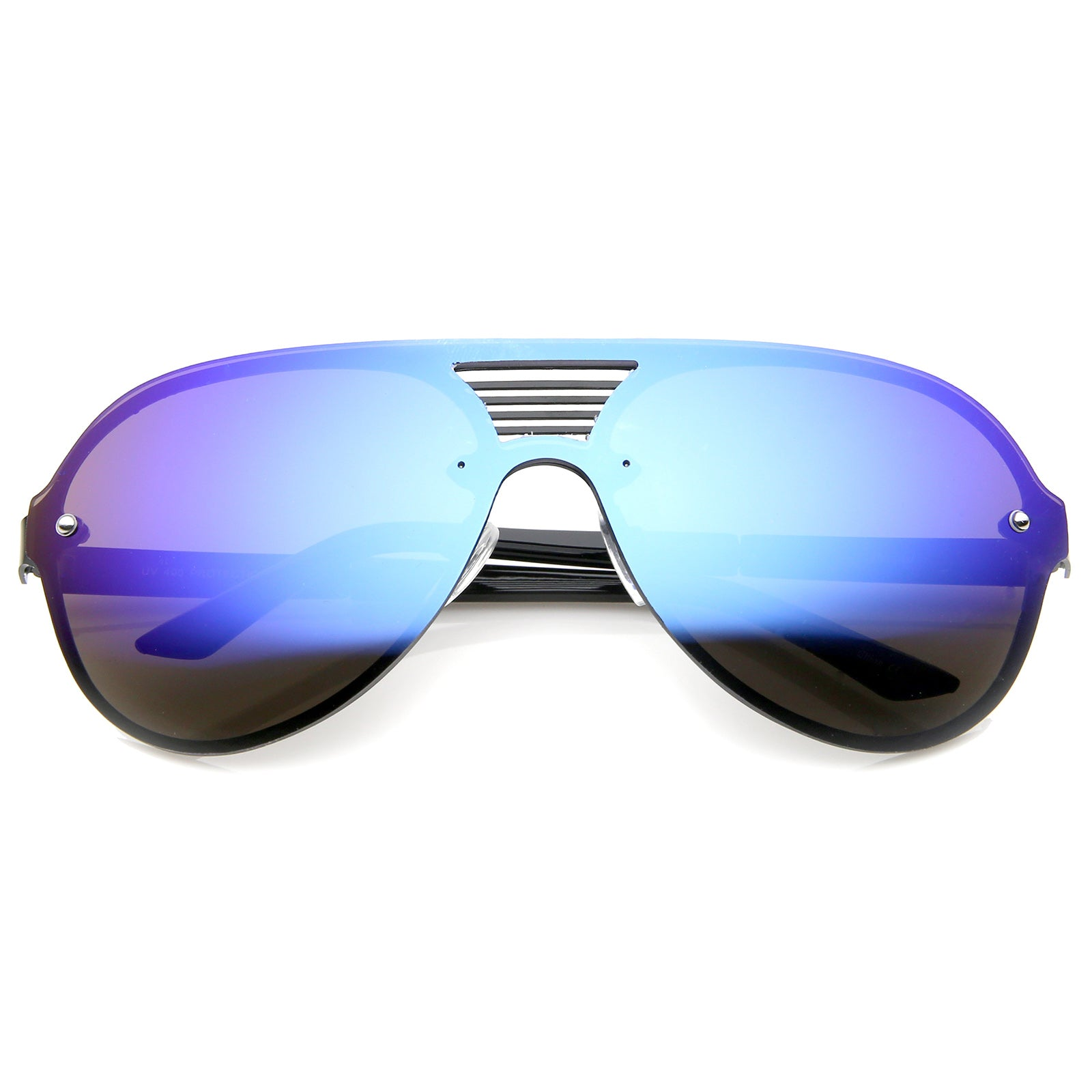 Rimless Flat Top Metal Temple Iridescent Mirror Lens Aviator Sunglasses 59mm - sunglass.la - 5