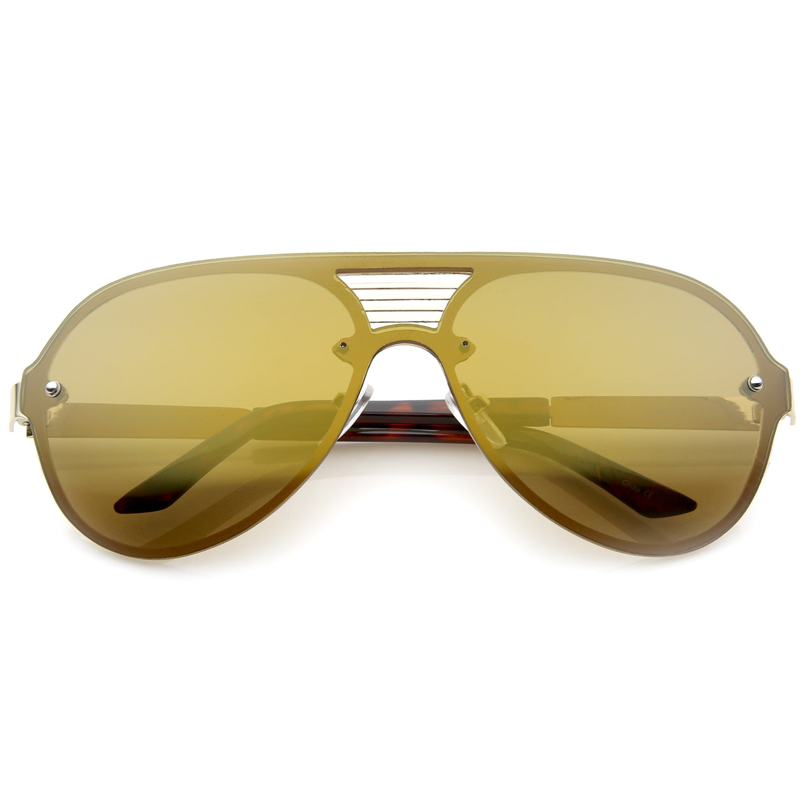 Rimless Flat Top Metal Temple Iridescent Mirror Lens Aviator Sunglasses 59mm - sunglass.la - 7