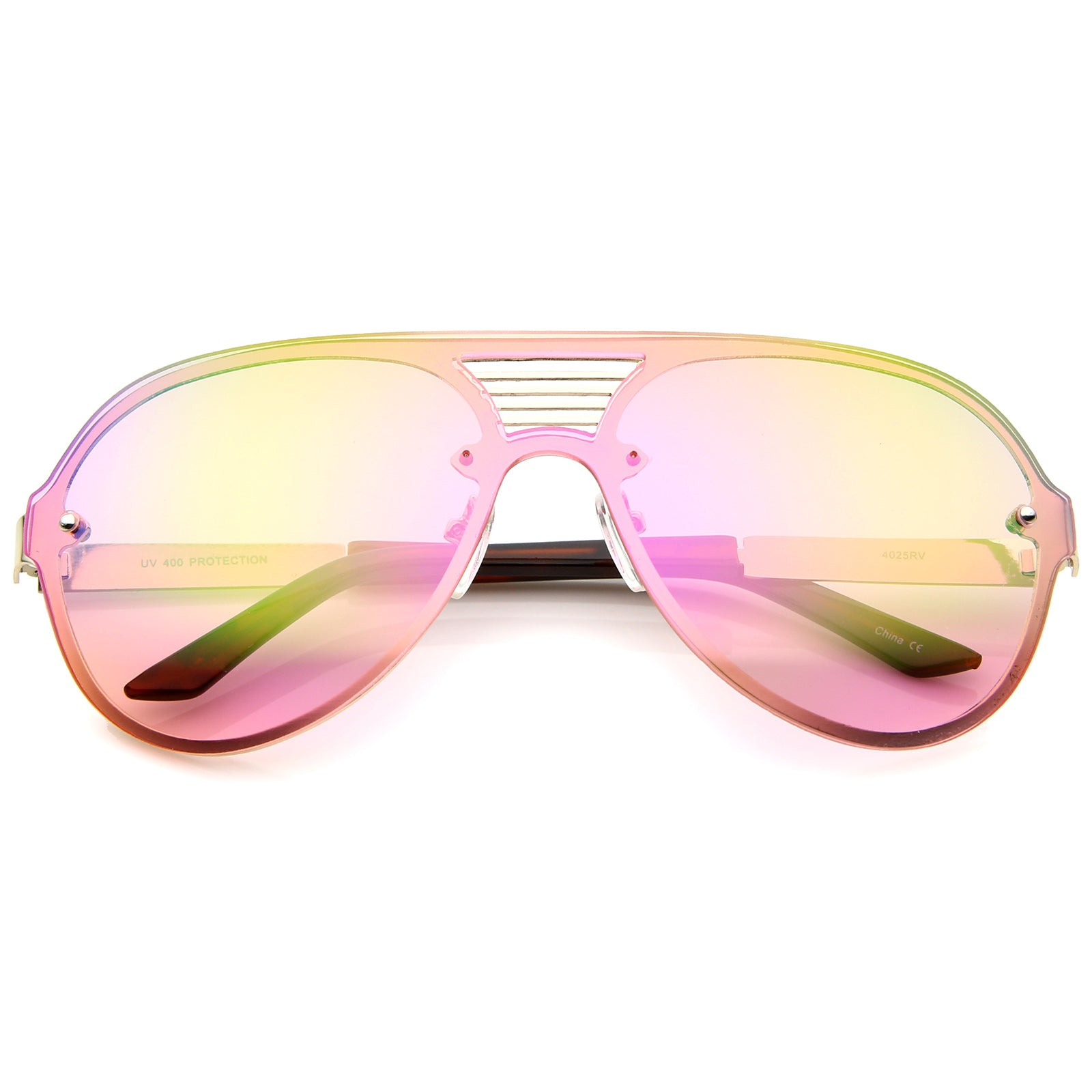 Rimless Flat Top Metal Temple Iridescent Mirror Lens Aviator Sunglasses 59mm - sunglass.la - 8