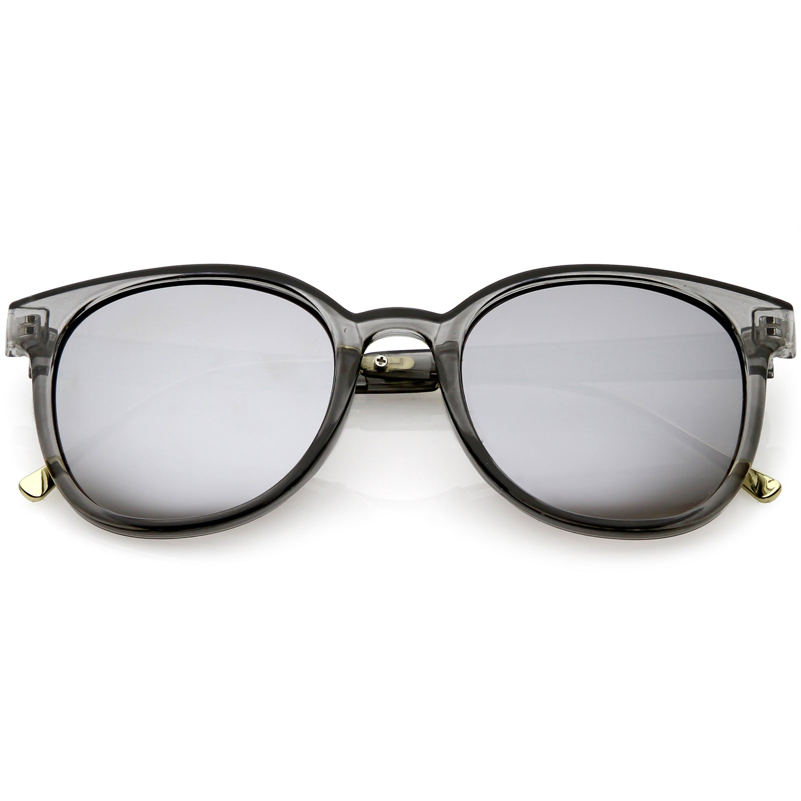c4e2013b62c8f Smoke   Silver Mirror. Modern Translucent Horn Rimmed Sunglasses with Round  Mirrored Lens 52mm