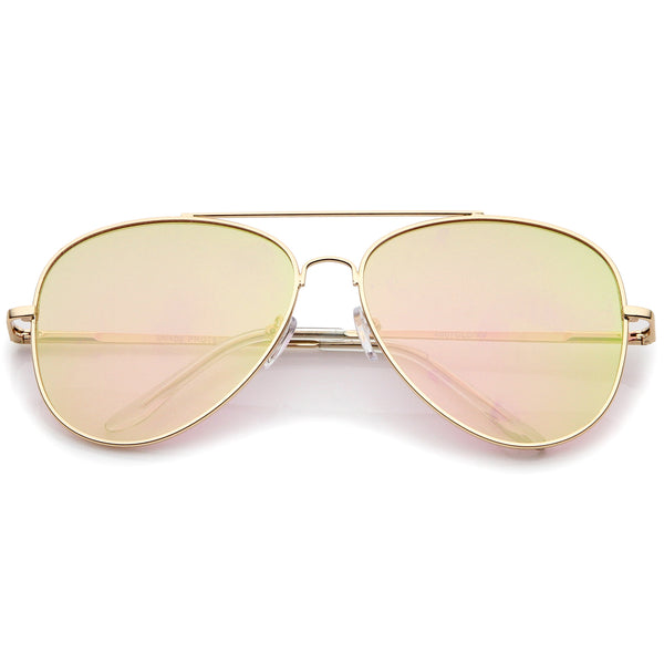 Large Metal Frame Colored Mirror Flat Lens Aviator Sunglasses 60mm - sunglass.la - 1