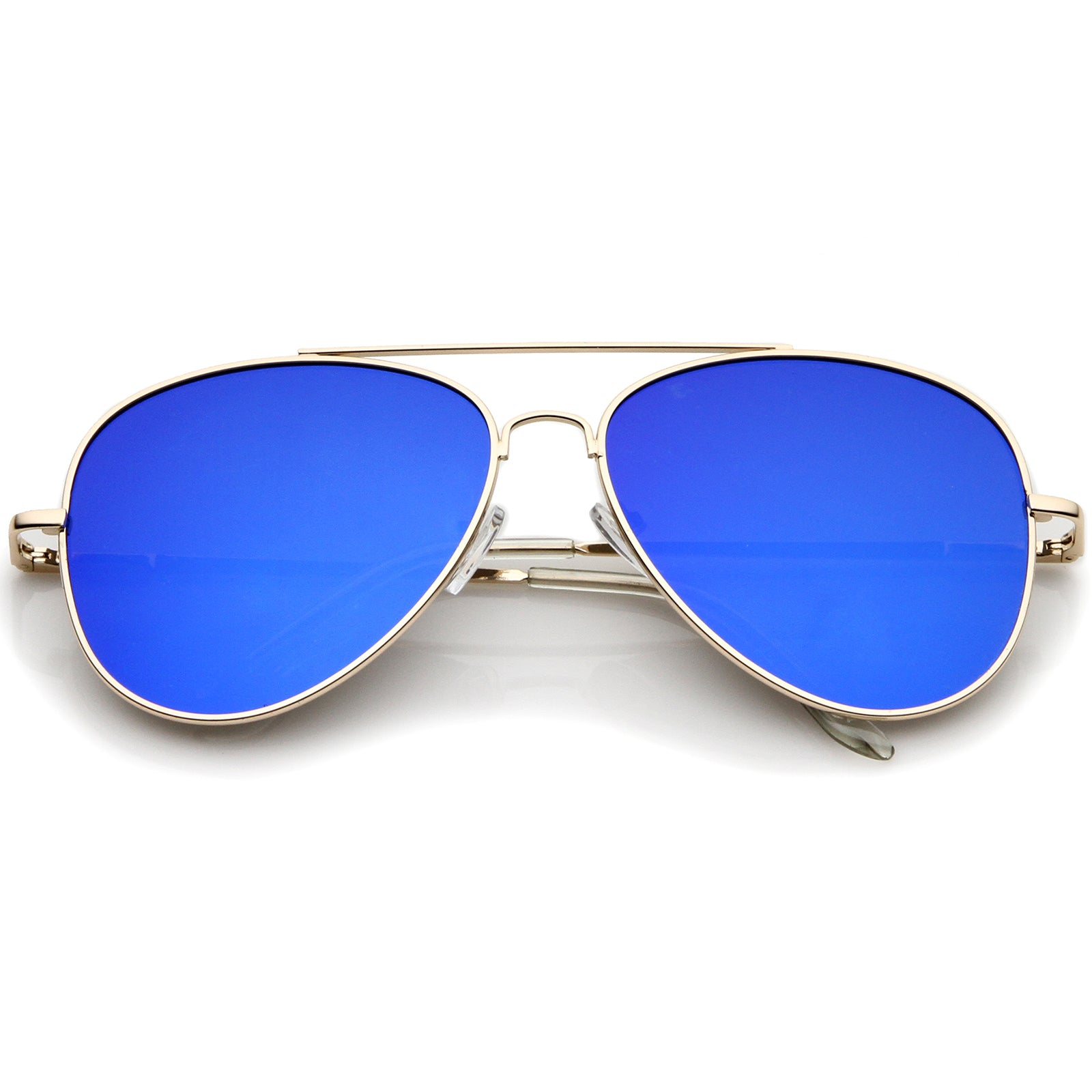 large aviator sunglasses  Large Metal Frame Colored Mirror Flat Lens Aviator Sunglasses 60mm ...