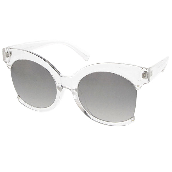 Women's Oversize Side Cut Transparent Frame Colored Mirror Cat Eye Sunglasses 59mm - sunglass.la - 1