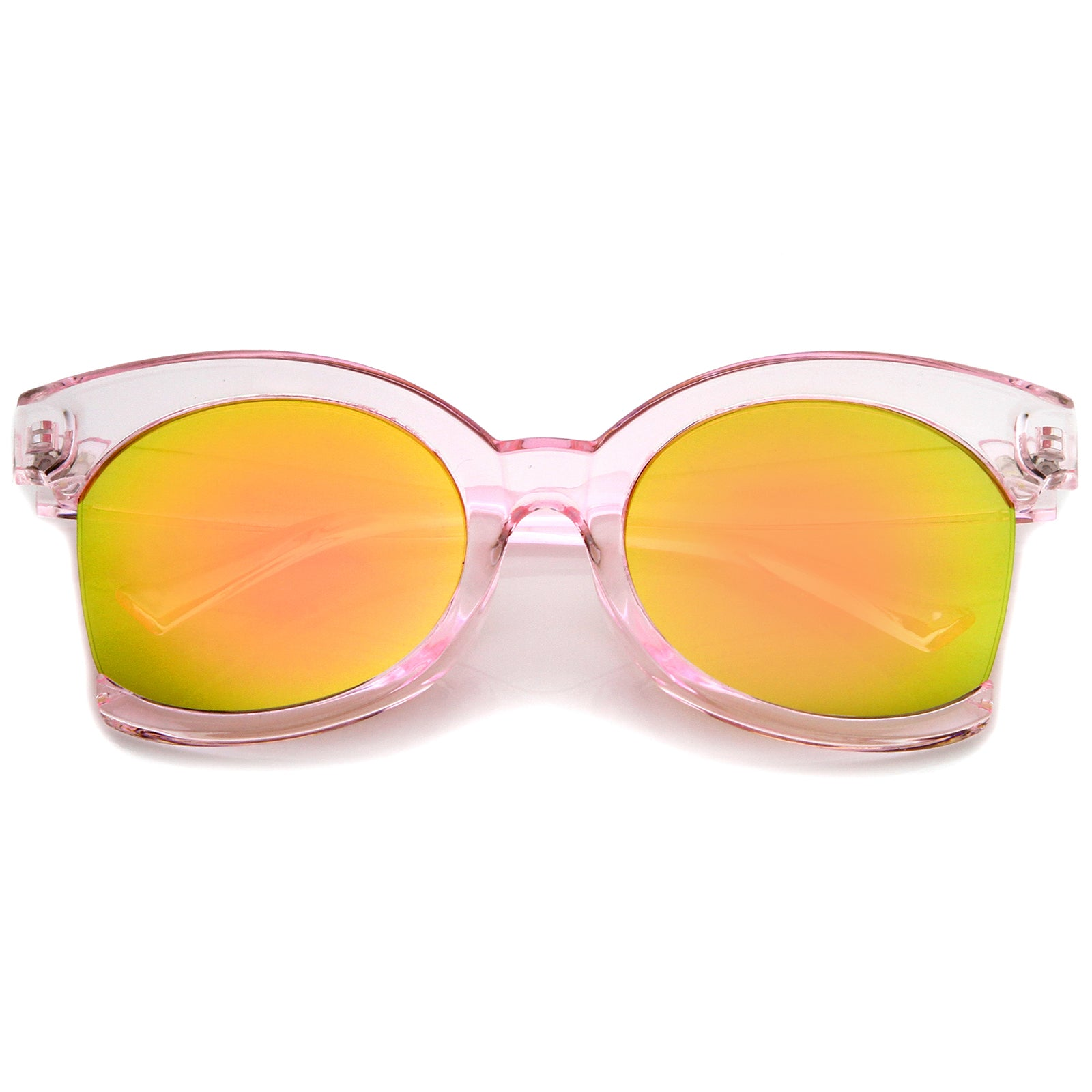 Women's Oversize Side Cut Transparent Frame Colored Mirror Cat Eye Sunglasses 59mm - sunglass.la - 7