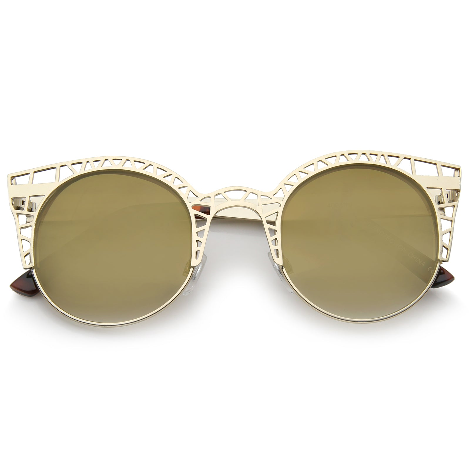 86d16e7c3b56e Women s Metal Cut Out Frame Colored Mirror Lens Round Cat Eye ...