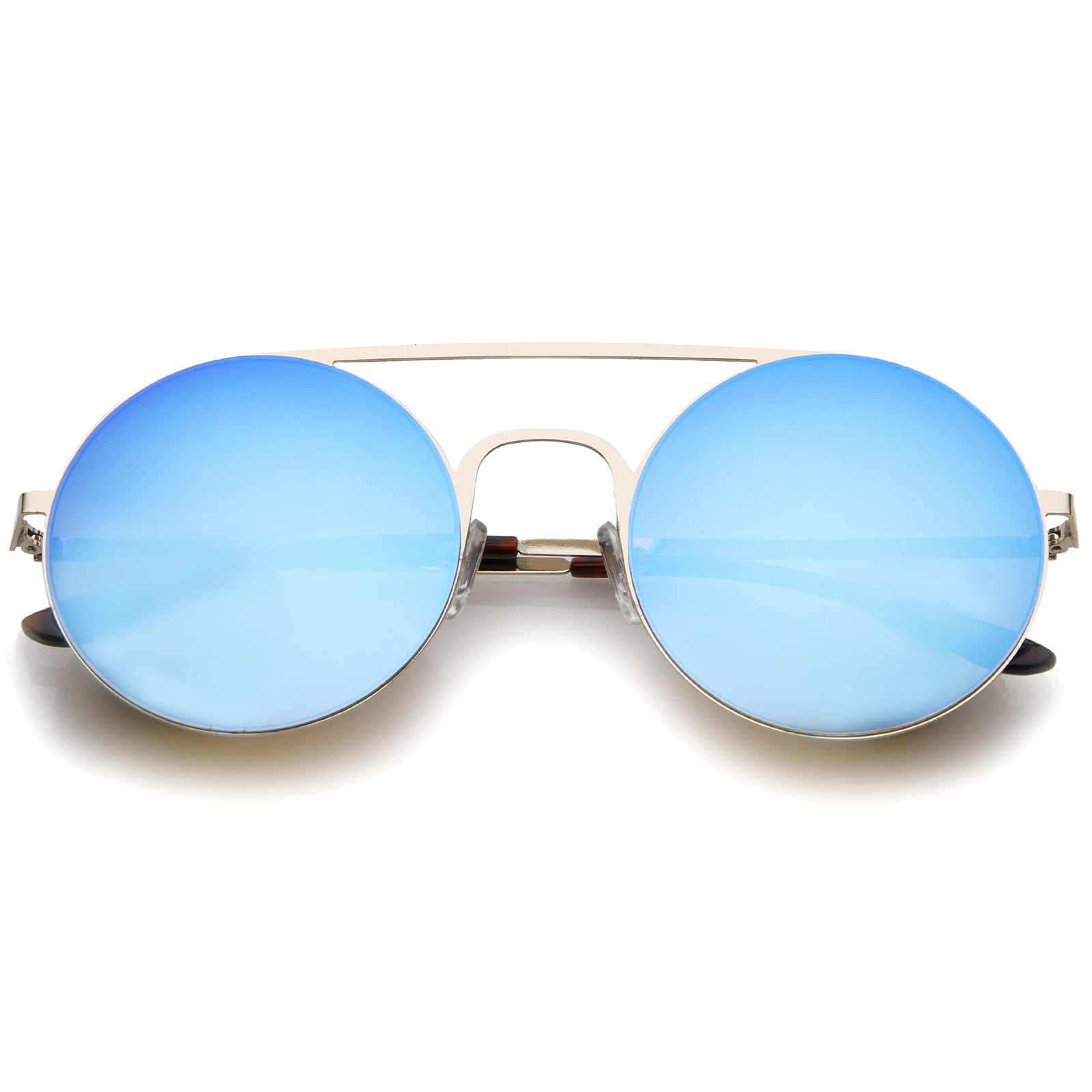 Modern Slim Double Nose Bridge Colored Mirror Flat Lens Round Sunglasses 53mm - sunglass.la - 1