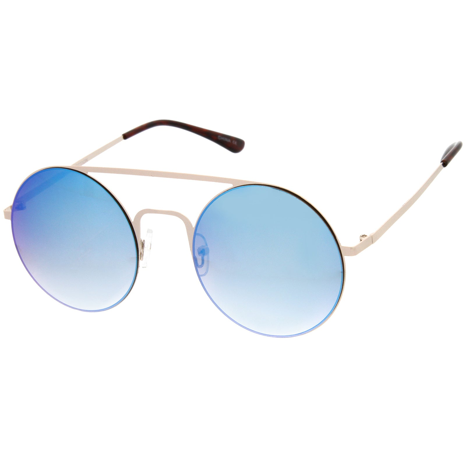 Modern Slim Double Nose Bridge Colored Mirror Flat Lens Round Sunglasses 53mm - sunglass.la - 2