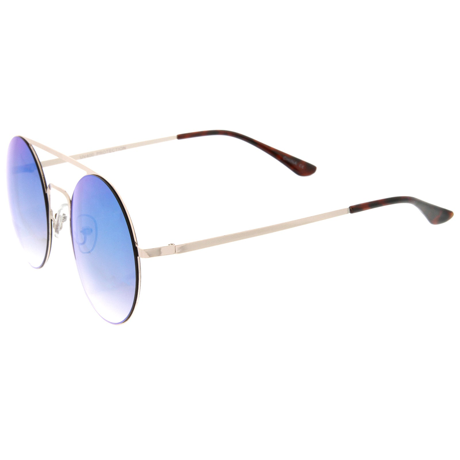 Modern Slim Double Nose Bridge Colored Mirror Flat Lens Round Sunglasses 53mm - sunglass.la - 3