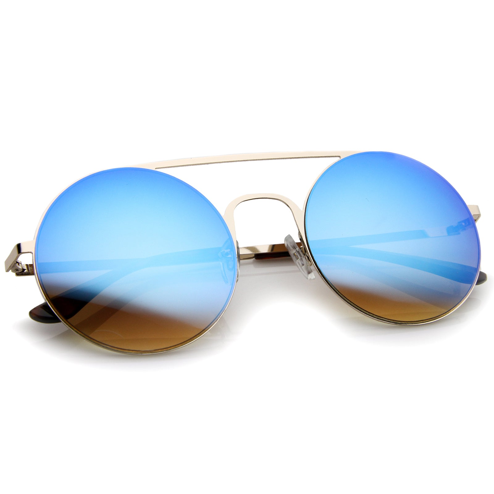 Modern Slim Double Nose Bridge Colored Mirror Flat Lens Round Sunglasses 53mm - sunglass.la - 4