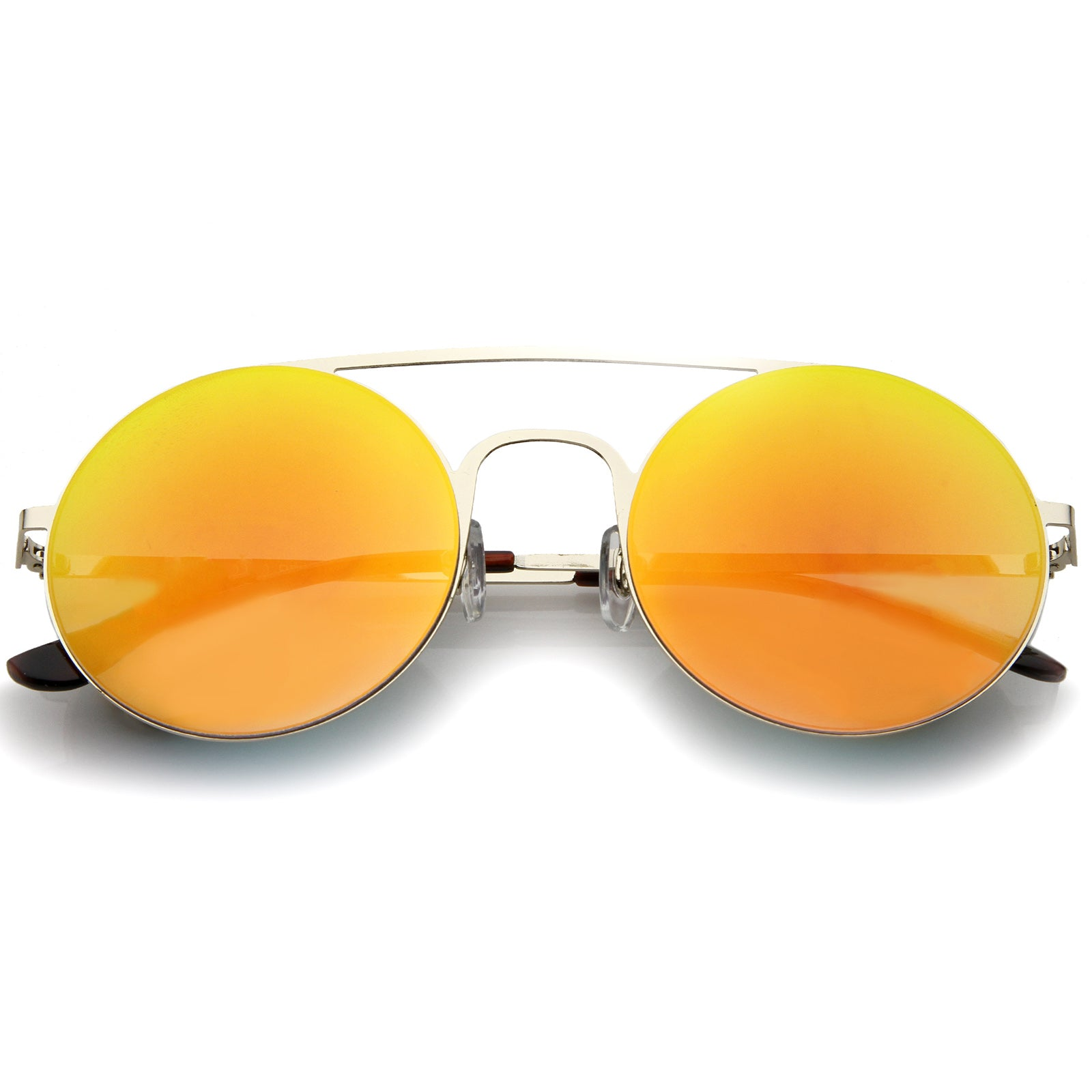 Modern Slim Double Nose Bridge Colored Mirror Flat Lens Round Sunglasses 53mm - sunglass.la - 5