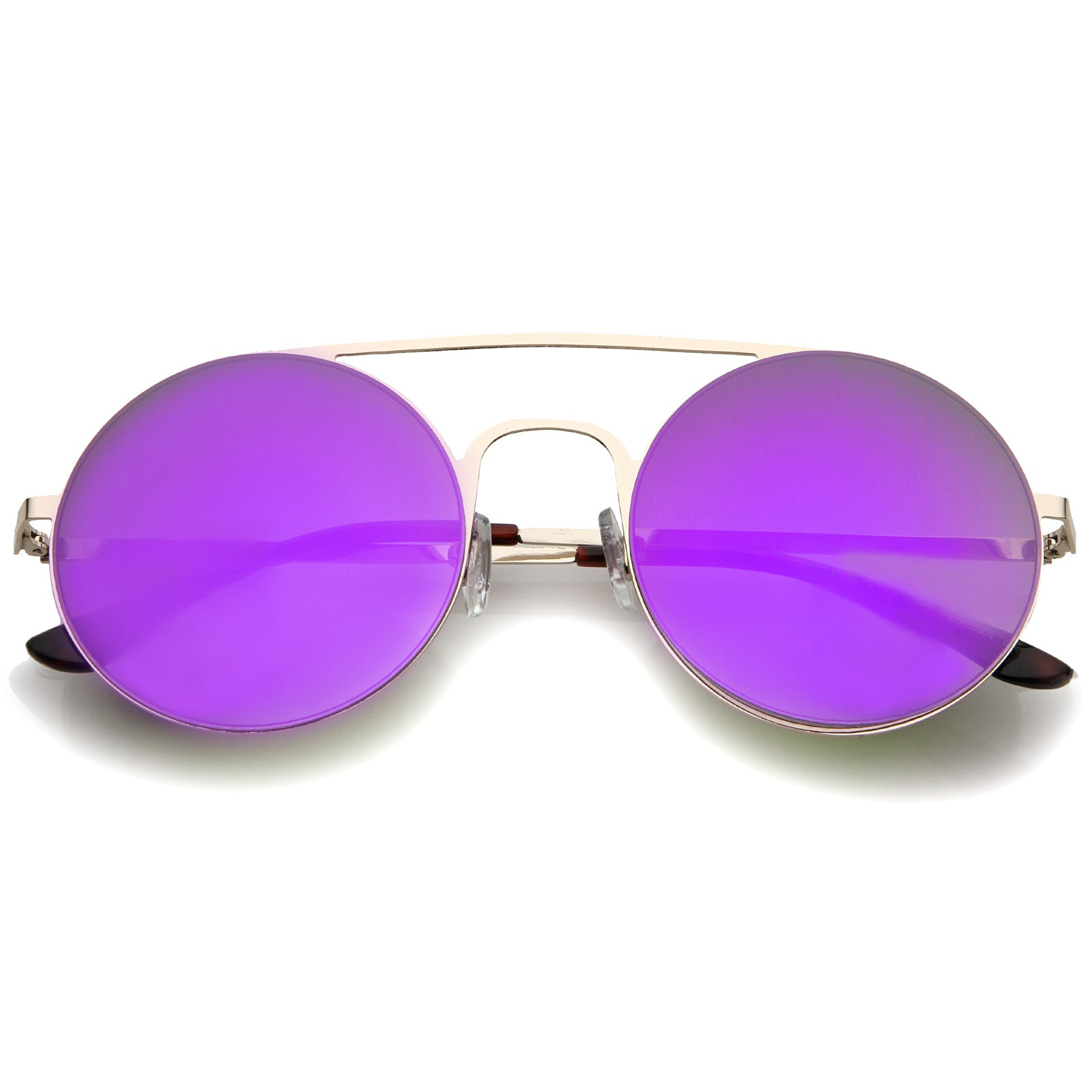 Modern Slim Double Nose Bridge Colored Mirror Flat Lens Round Sunglasses 53mm - sunglass.la - 6