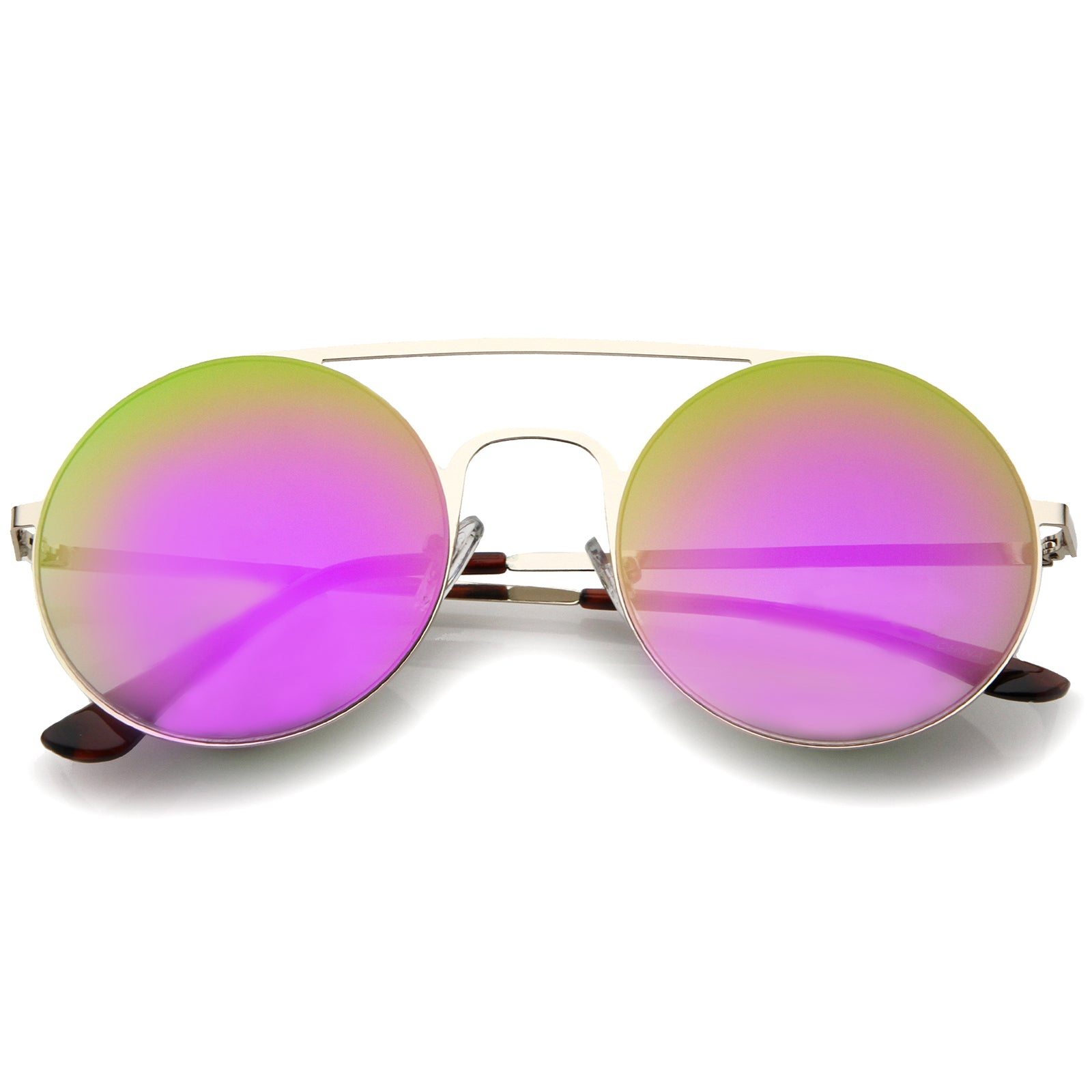 Modern Slim Double Nose Bridge Colored Mirror Flat Lens Round Sunglasses 53mm - sunglass.la - 7