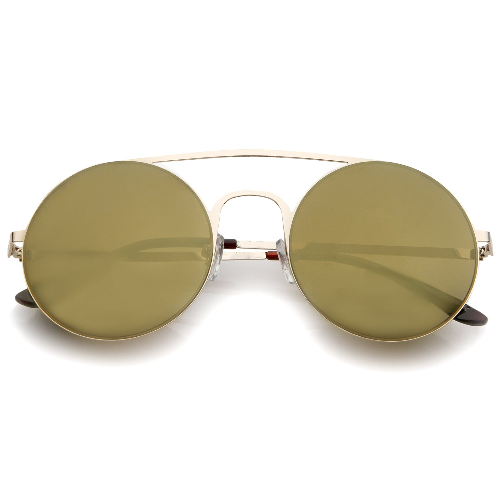 Modern Slim Double Nose Bridge Colored Mirror Flat Lens Round Sunglasses 53mm - sunglass.la - 8
