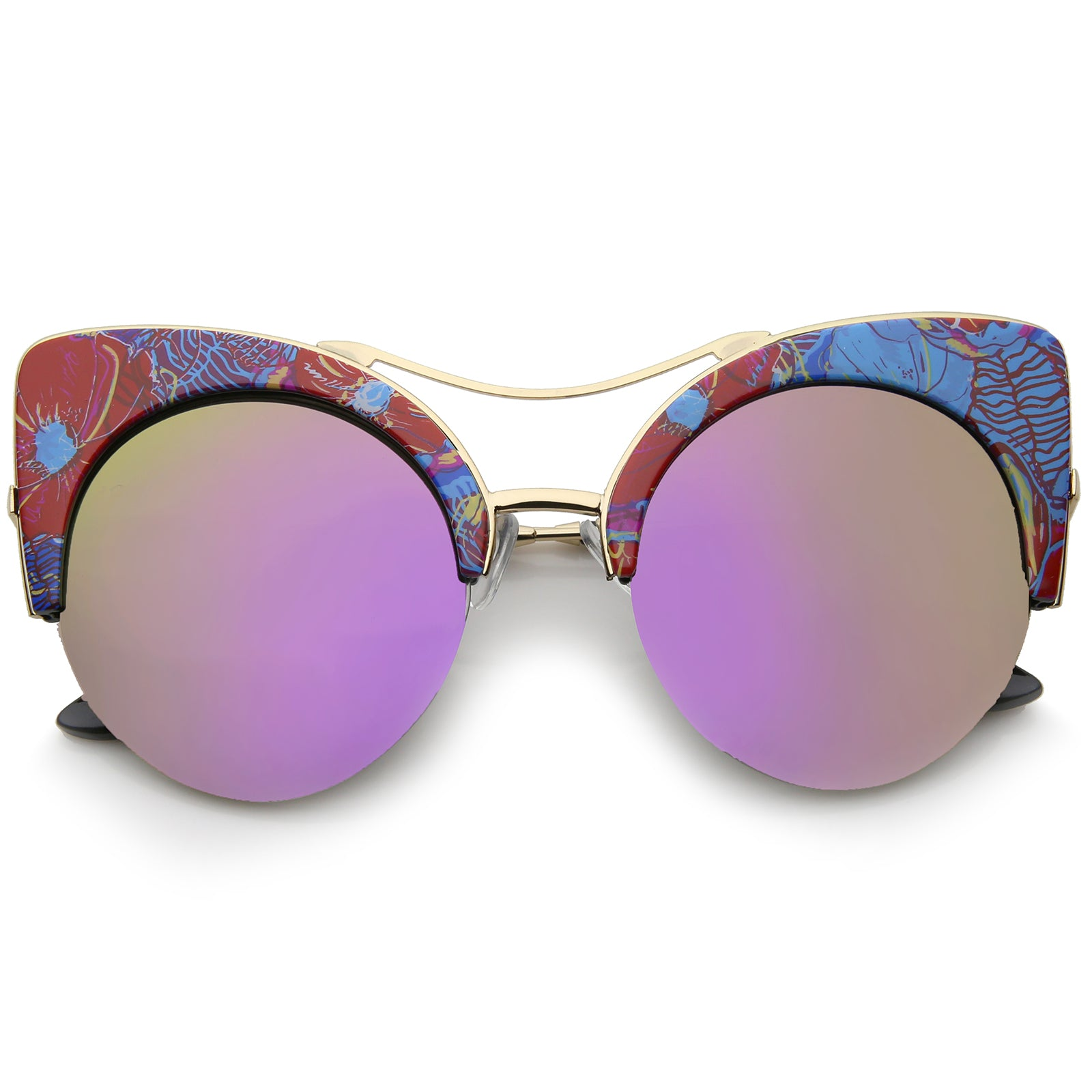 Women's Flat Lens Floral Print Semi-Rimless Round Cat Eye Sunglasses 52mm - sunglass.la - 1