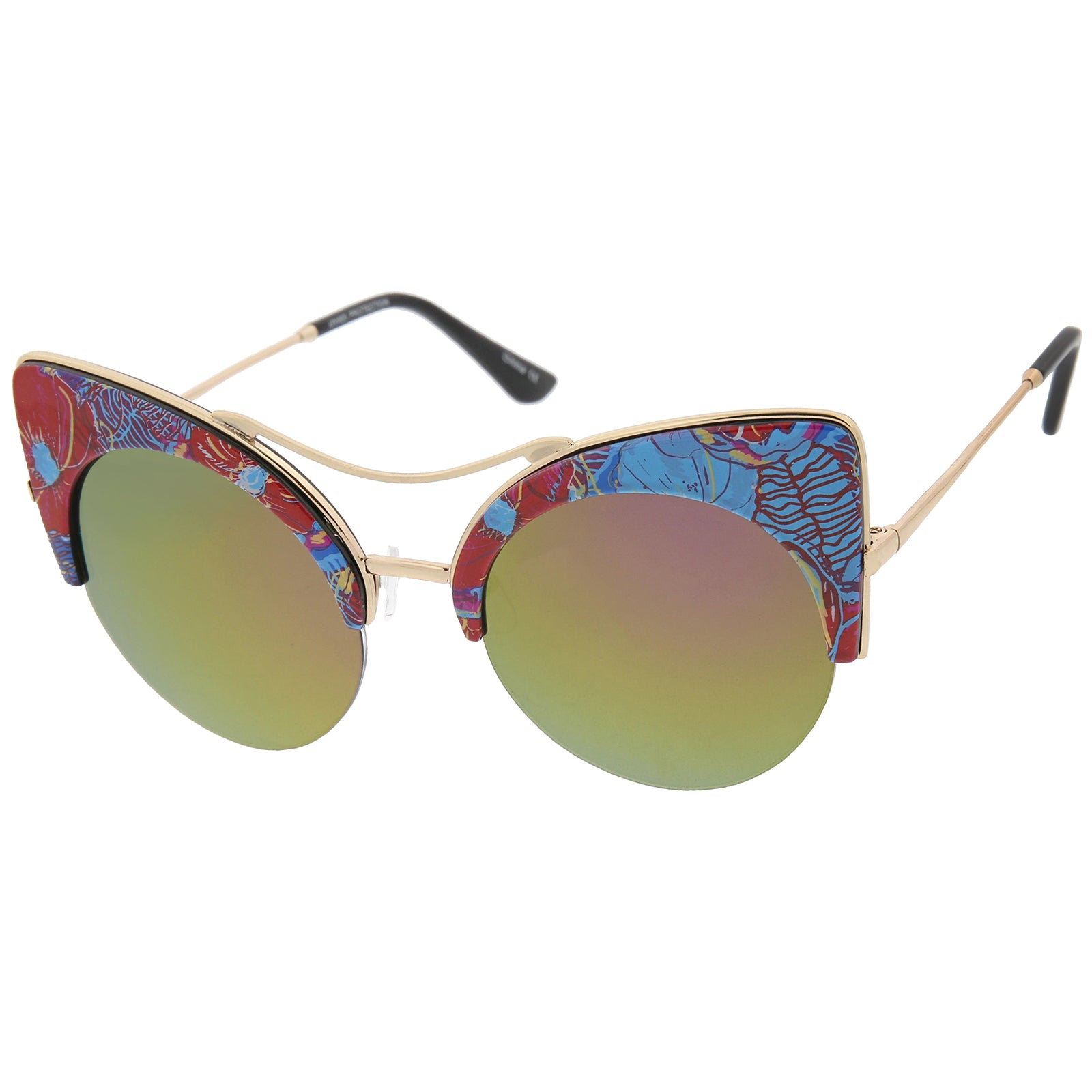 Women's Flat Lens Floral Print Semi-Rimless Round Cat Eye Sunglasses 52mm - sunglass.la - 2
