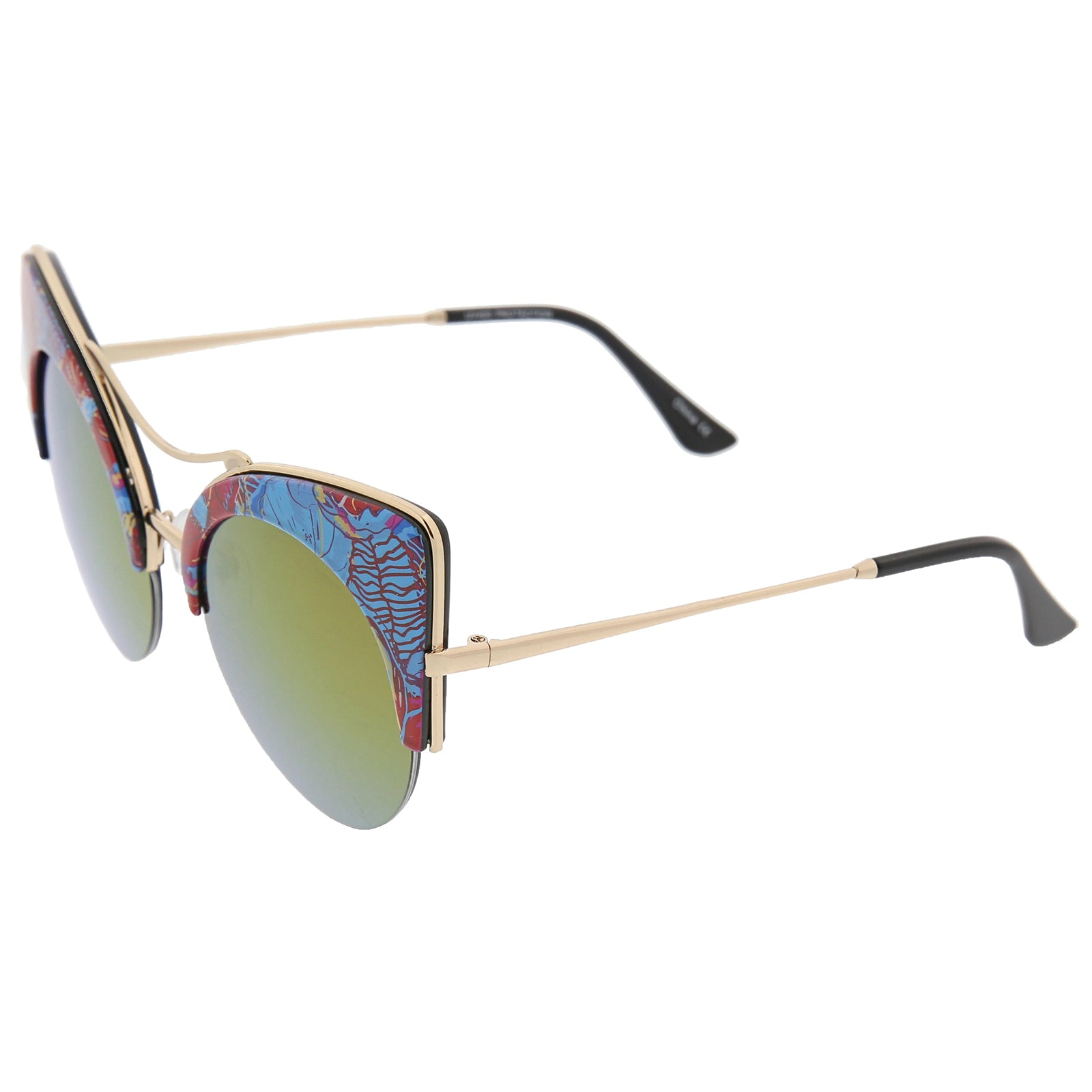 Women's Flat Lens Floral Print Semi-Rimless Round Cat Eye Sunglasses 52mm - sunglass.la - 3