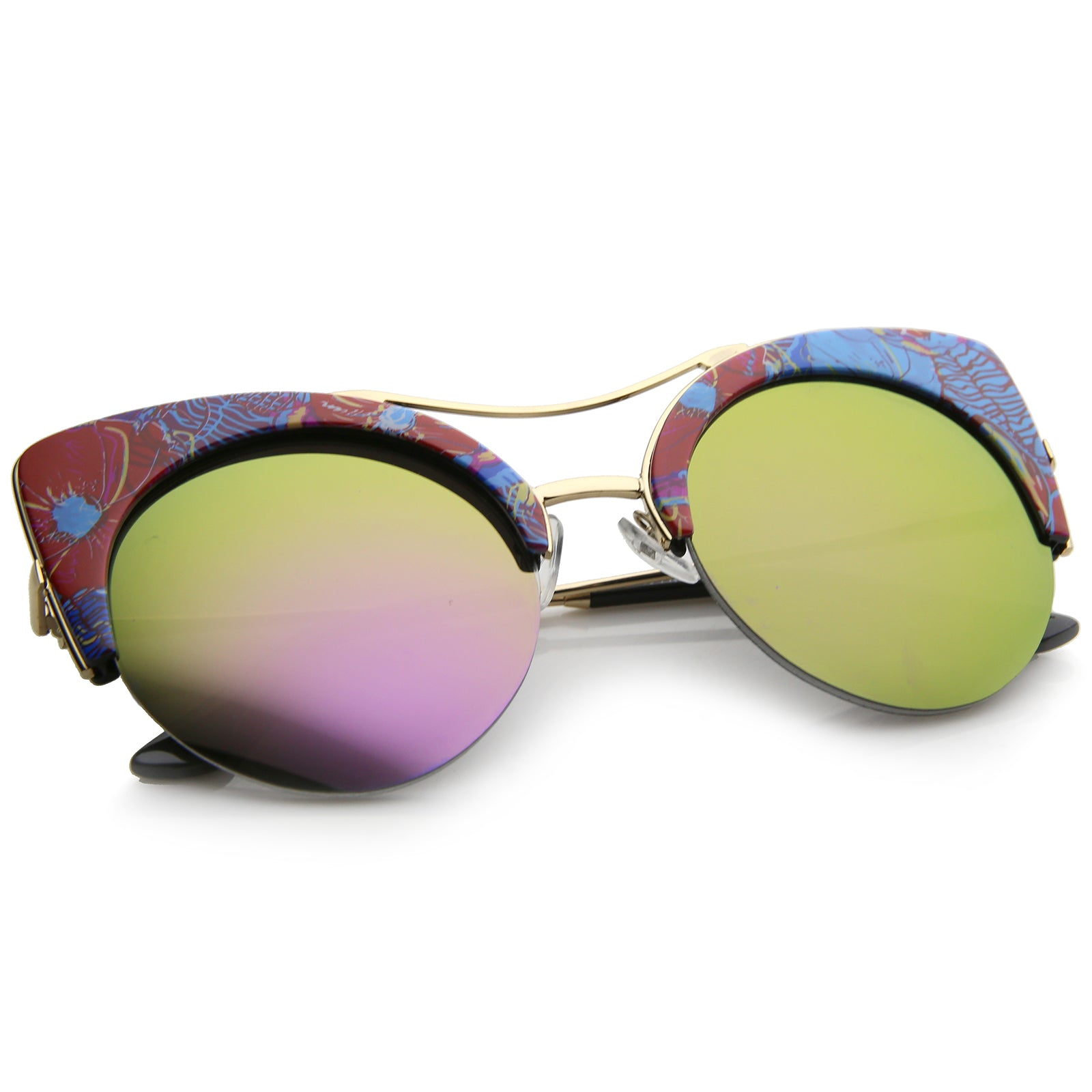 Women's Flat Lens Floral Print Semi-Rimless Round Cat Eye Sunglasses 52mm - sunglass.la - 4