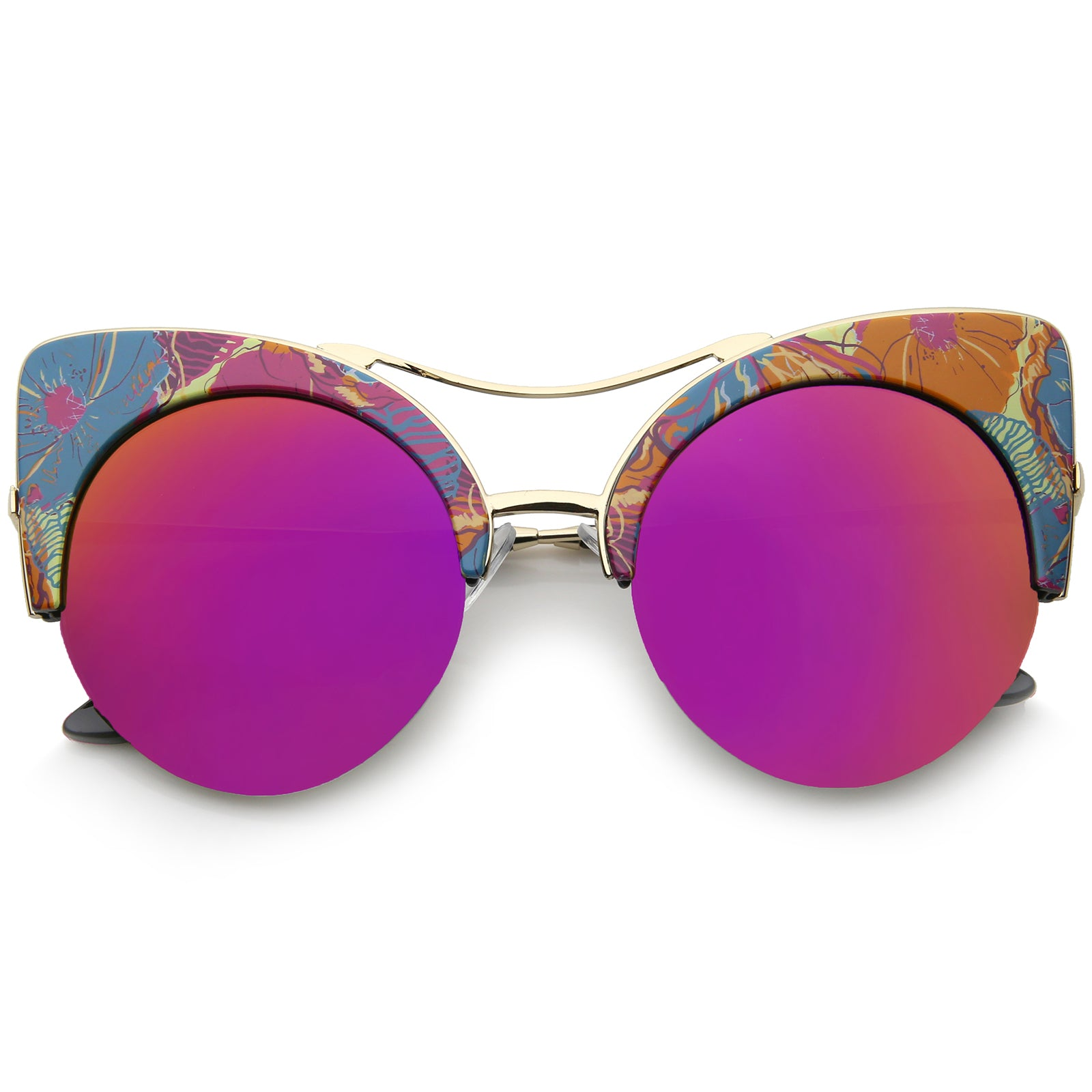 Women's Flat Lens Floral Print Semi-Rimless Round Cat Eye Sunglasses 52mm - sunglass.la - 5