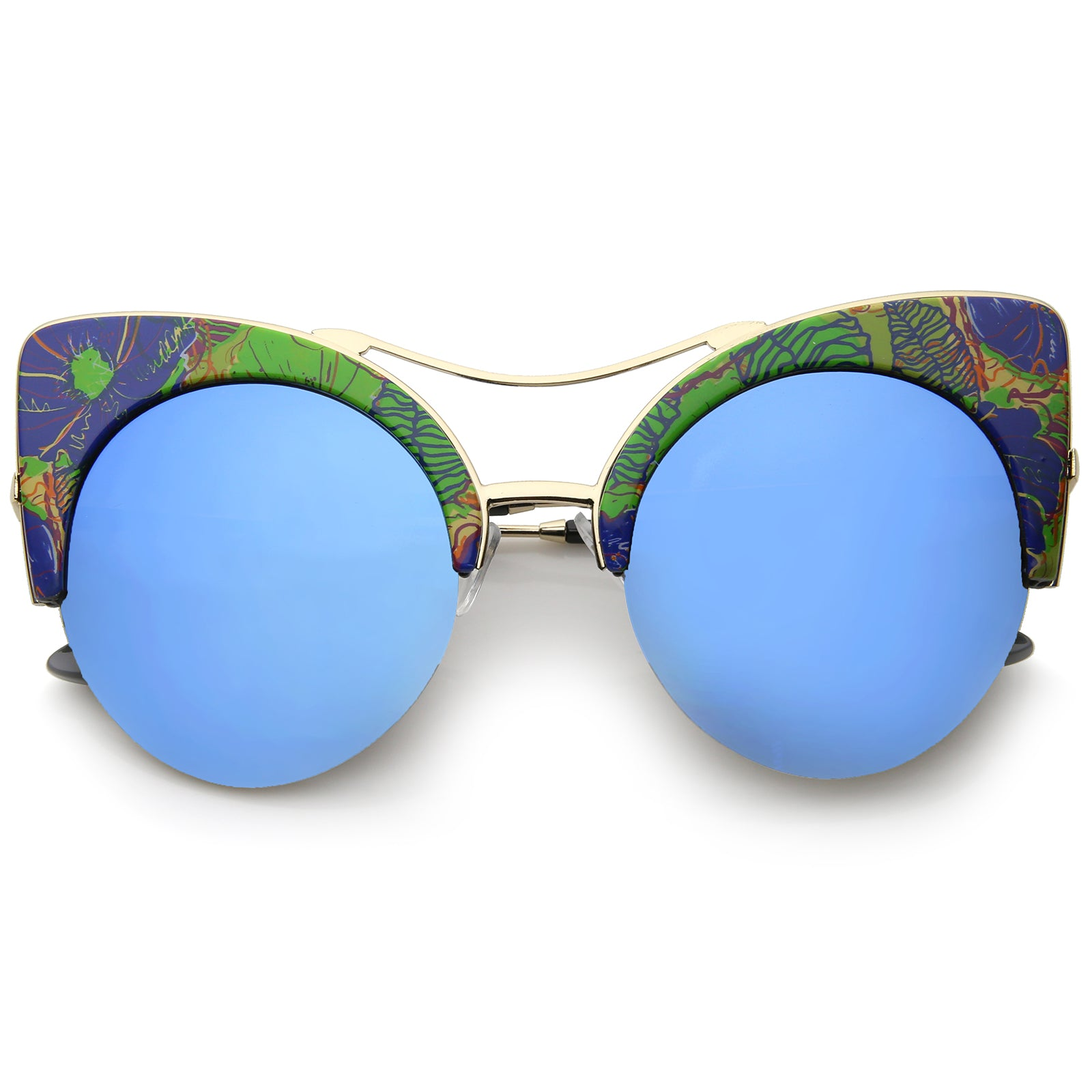 Women's Flat Lens Floral Print Semi-Rimless Round Cat Eye Sunglasses 52mm - sunglass.la - 6
