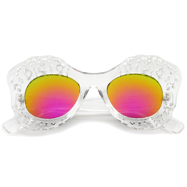 Transparent Cutout Frame Colored Mirror Lens Oversize Butterfly Sunglasses 49mm - sunglass.la - 1