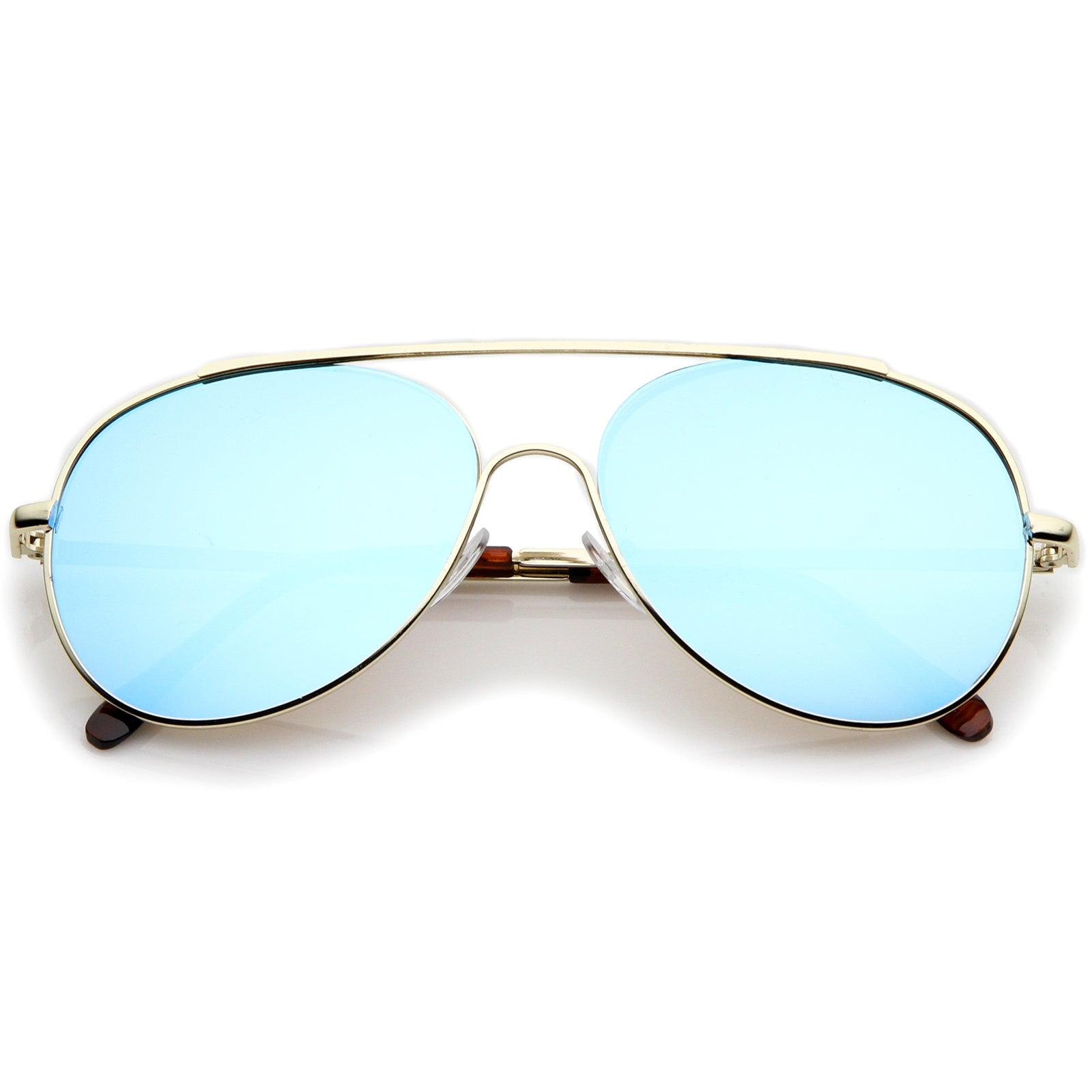 Classic Brow Bar Semi-Rimless Colored Mirror Lens Aviator Sunglasses 57mm - sunglass.la