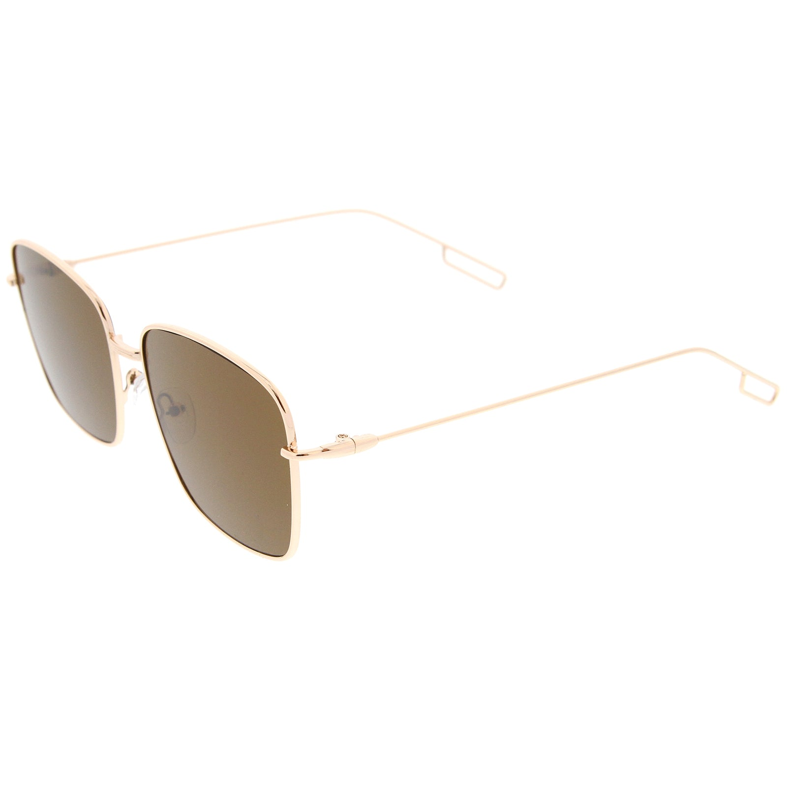 Minimal Wire Metal Frame Hook Temple Flat Lens Square Sunglasses 58mm - sunglass.la - 3