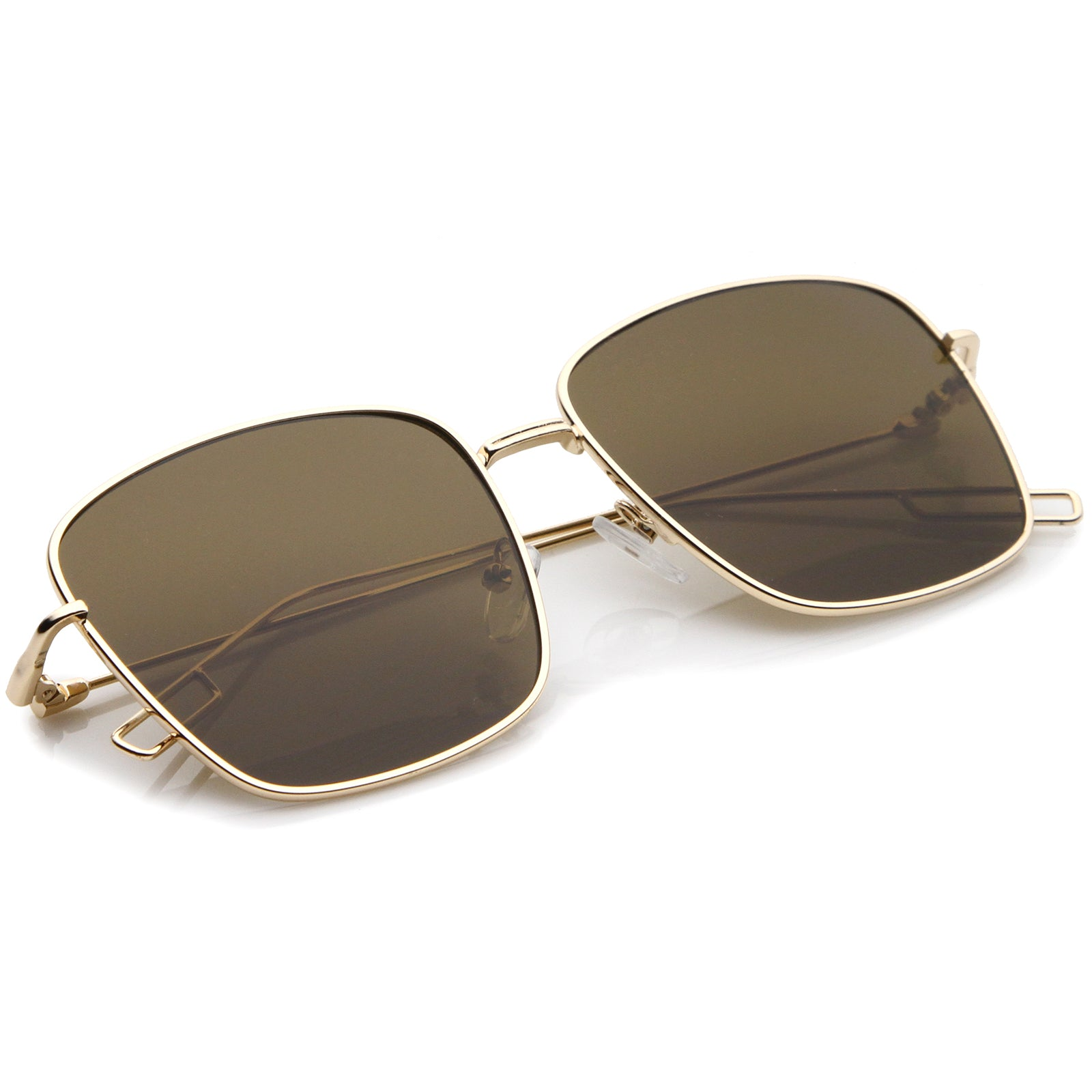 Minimal Wire Metal Frame Hook Temple Flat Lens Square Sunglasses 58mm - sunglass.la - 4