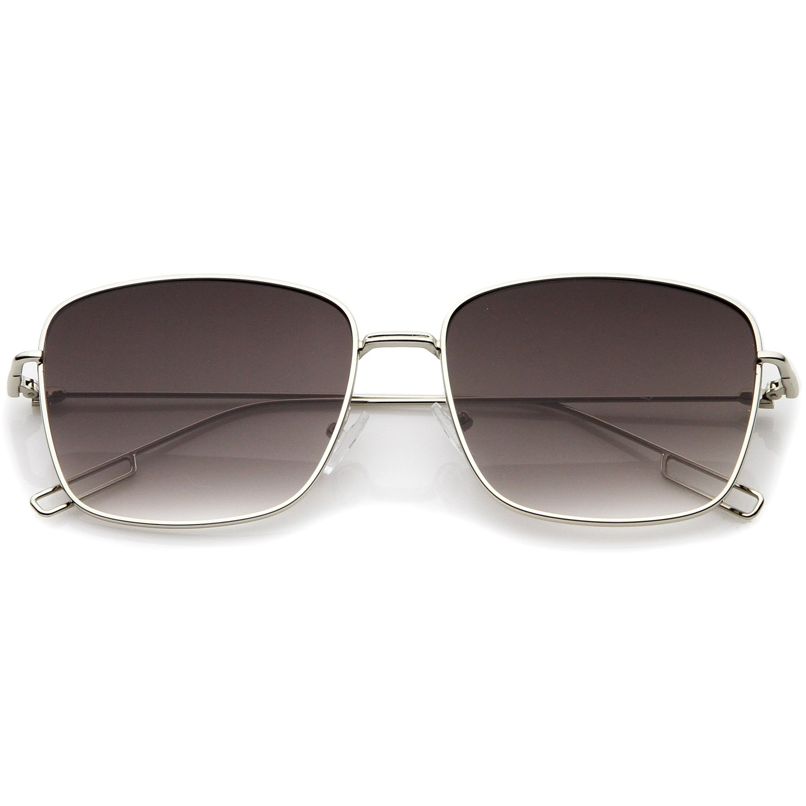Minimal Wire Metal Frame Hook Temple Flat Lens Square Sunglasses 58mm - sunglass.la - 6