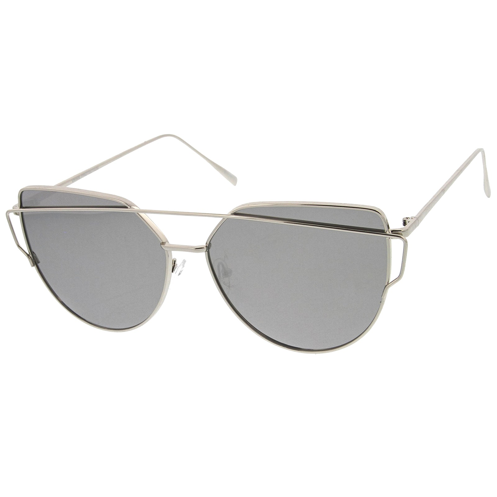 Oversize Metal Frame Thin Temple Color Mirror Flat Lens Aviator Sunglasses 62mm - sunglass.la - 2