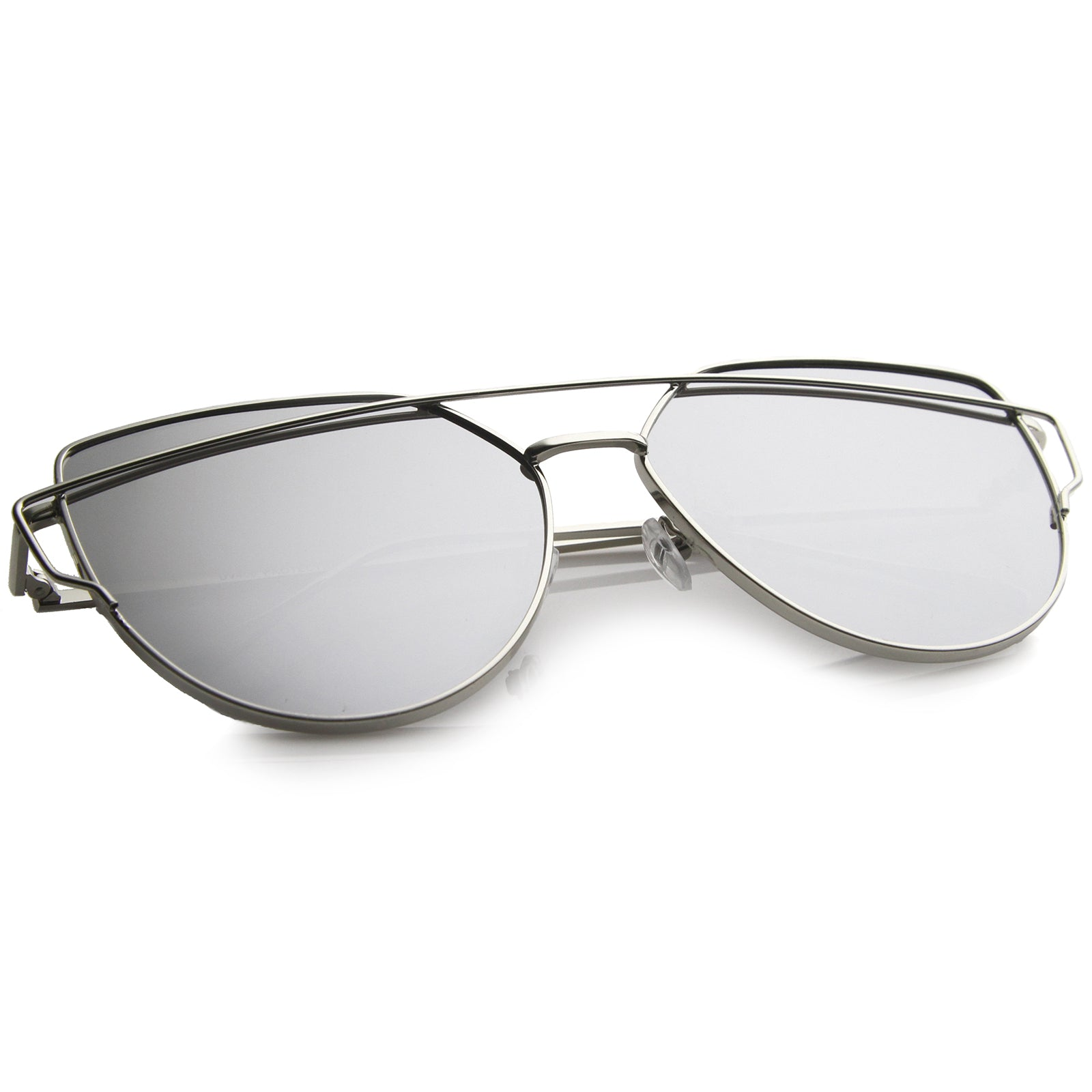 Oversize Metal Frame Thin Temple Color Mirror Flat Lens Aviator Sunglasses 62mm - sunglass.la - 4