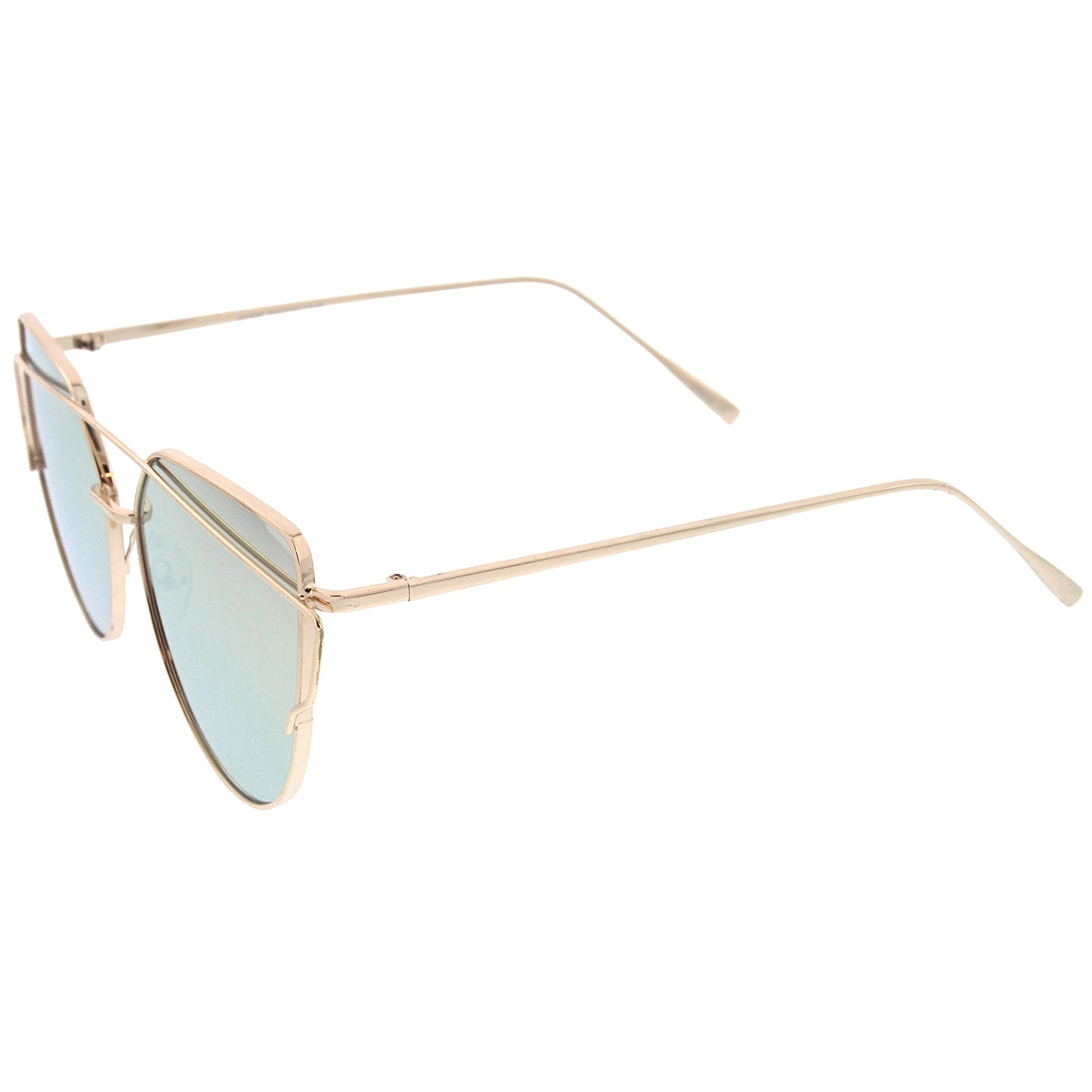Oversize Metal Frame Thin Temple Color Mirror Flat Lens Aviator Sunglasses 62mm - sunglass.la - 7