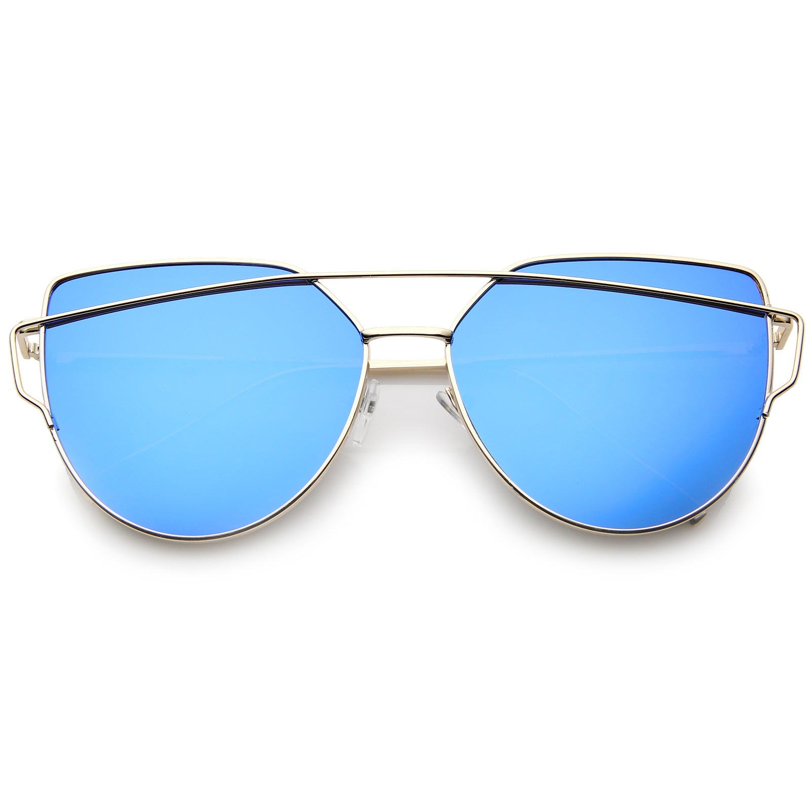 Oversize Metal Frame Thin Temple Color Mirror Flat Lens Aviator Sunglasses 62mm - sunglass.la - 9