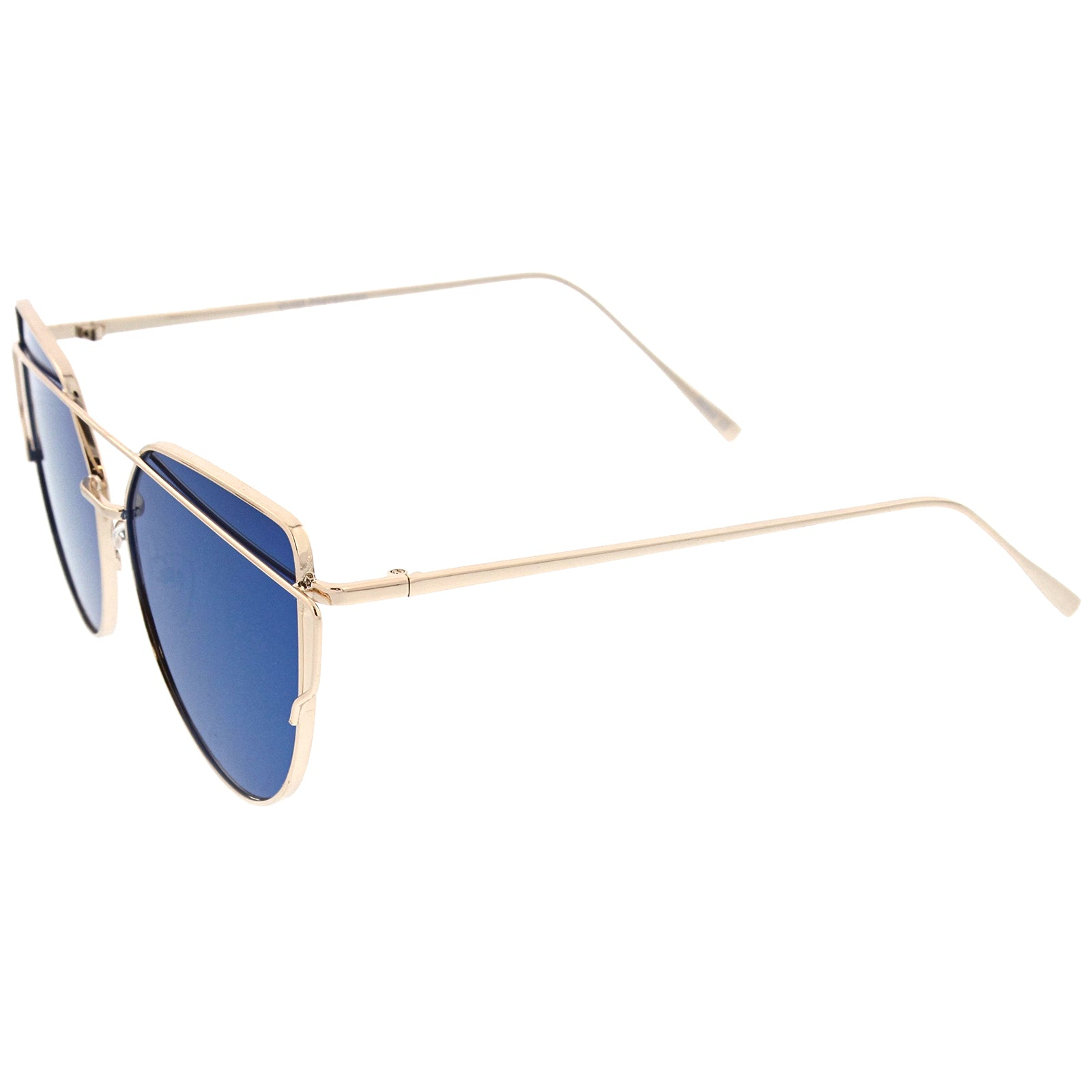 Oversize Metal Frame Thin Temple Color Mirror Flat Lens Aviator Sunglasses 62mm - sunglass.la - 11