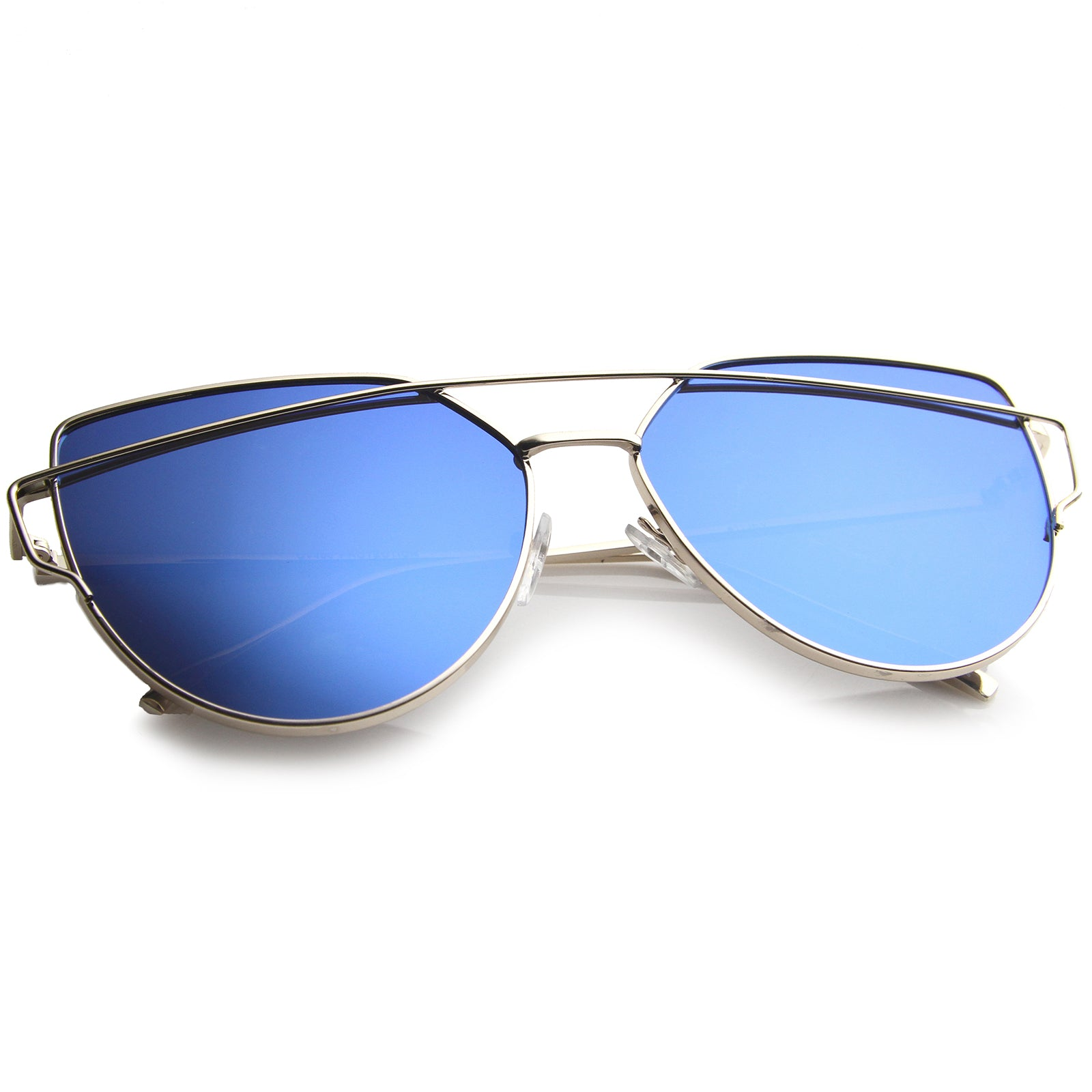 Oversize Metal Frame Thin Temple Color Mirror Flat Lens Aviator Sunglasses 62mm - sunglass.la - 12