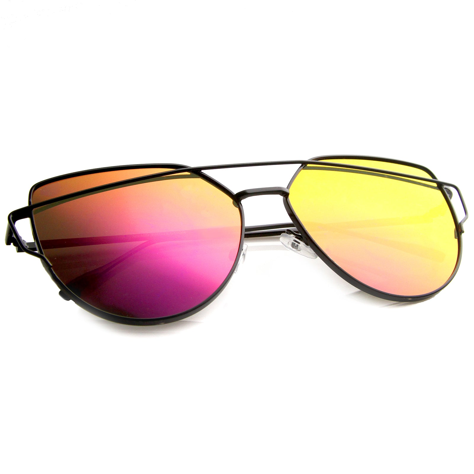 Oversize Metal Frame Thin Temple Color Mirror Flat Lens Aviator Sunglasses 62mm - sunglass.la - 20