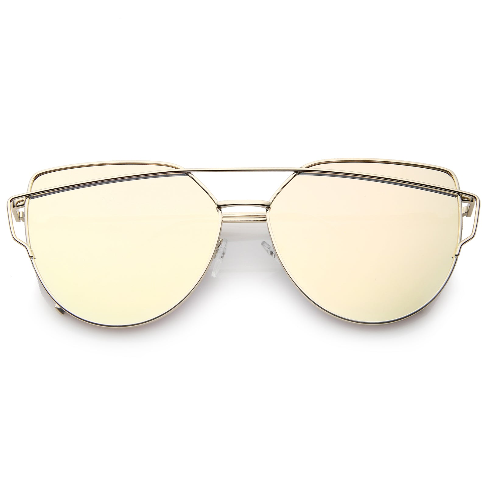 Oversize Metal Frame Thin Temple Color Mirror Flat Lens Aviator Sunglasses 62mm - sunglass.la - 21