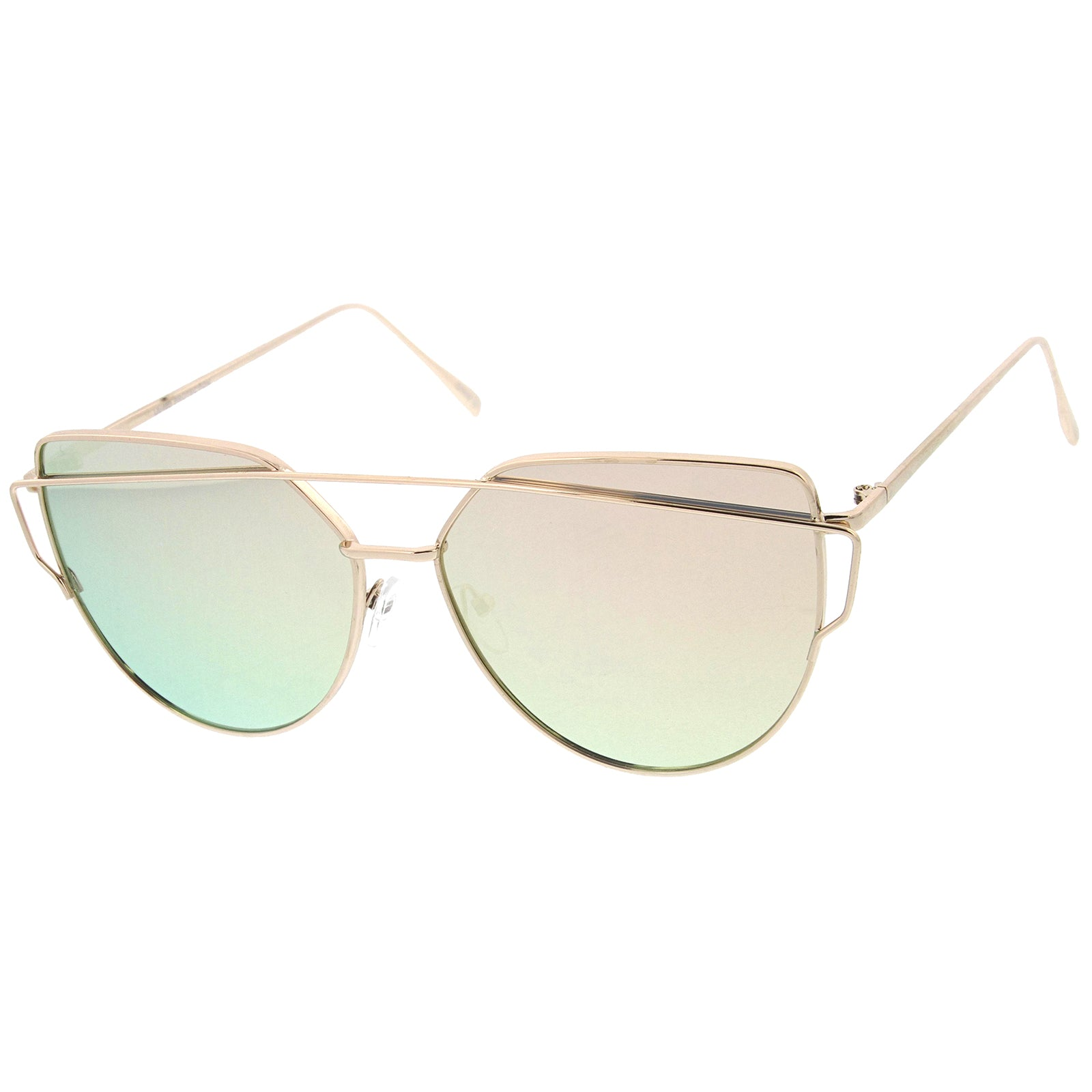 Oversize Metal Frame Thin Temple Color Mirror Flat Lens Aviator Sunglasses 62mm - sunglass.la - 22