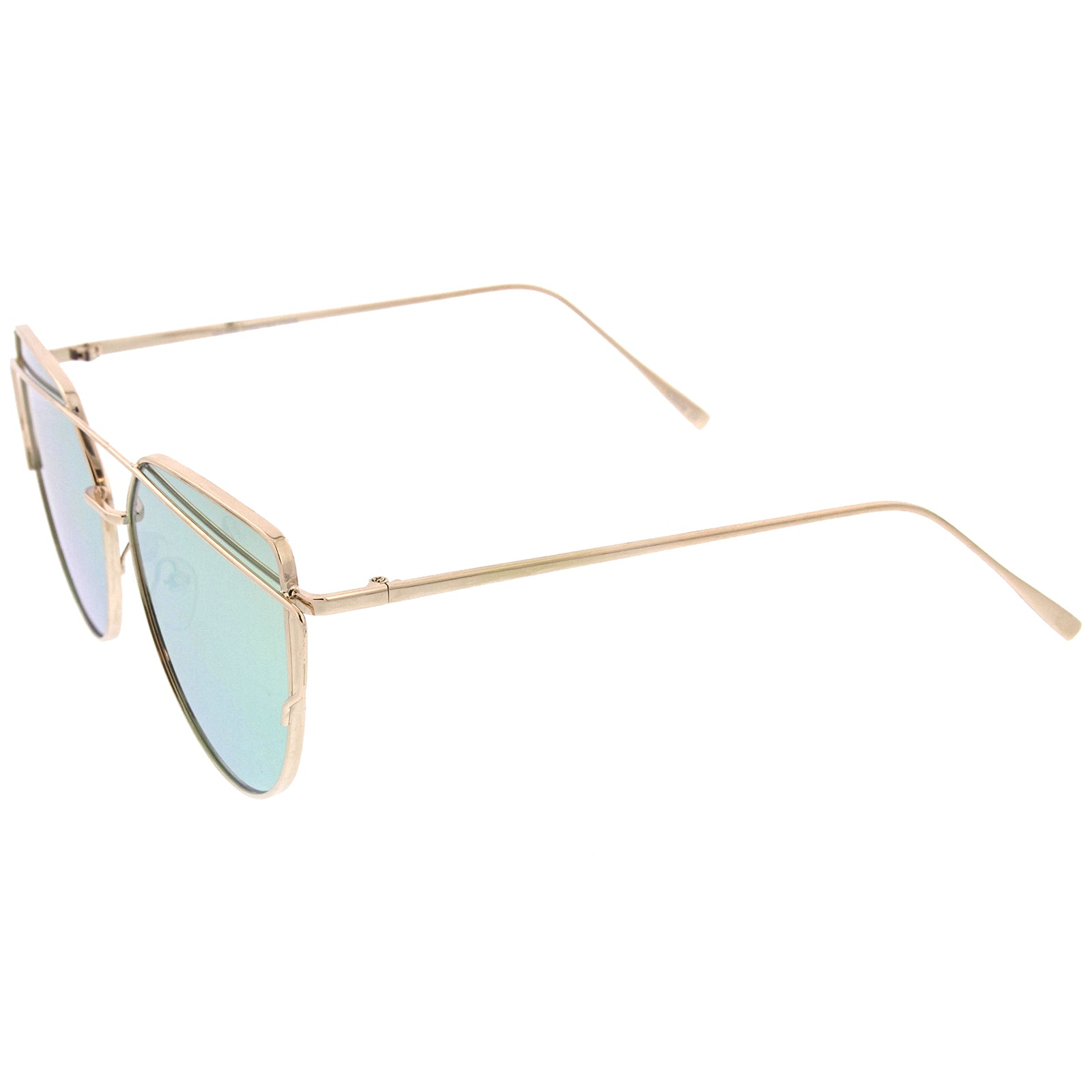 Oversize Metal Frame Thin Temple Color Mirror Flat Lens Aviator Sunglasses 62mm - sunglass.la - 23